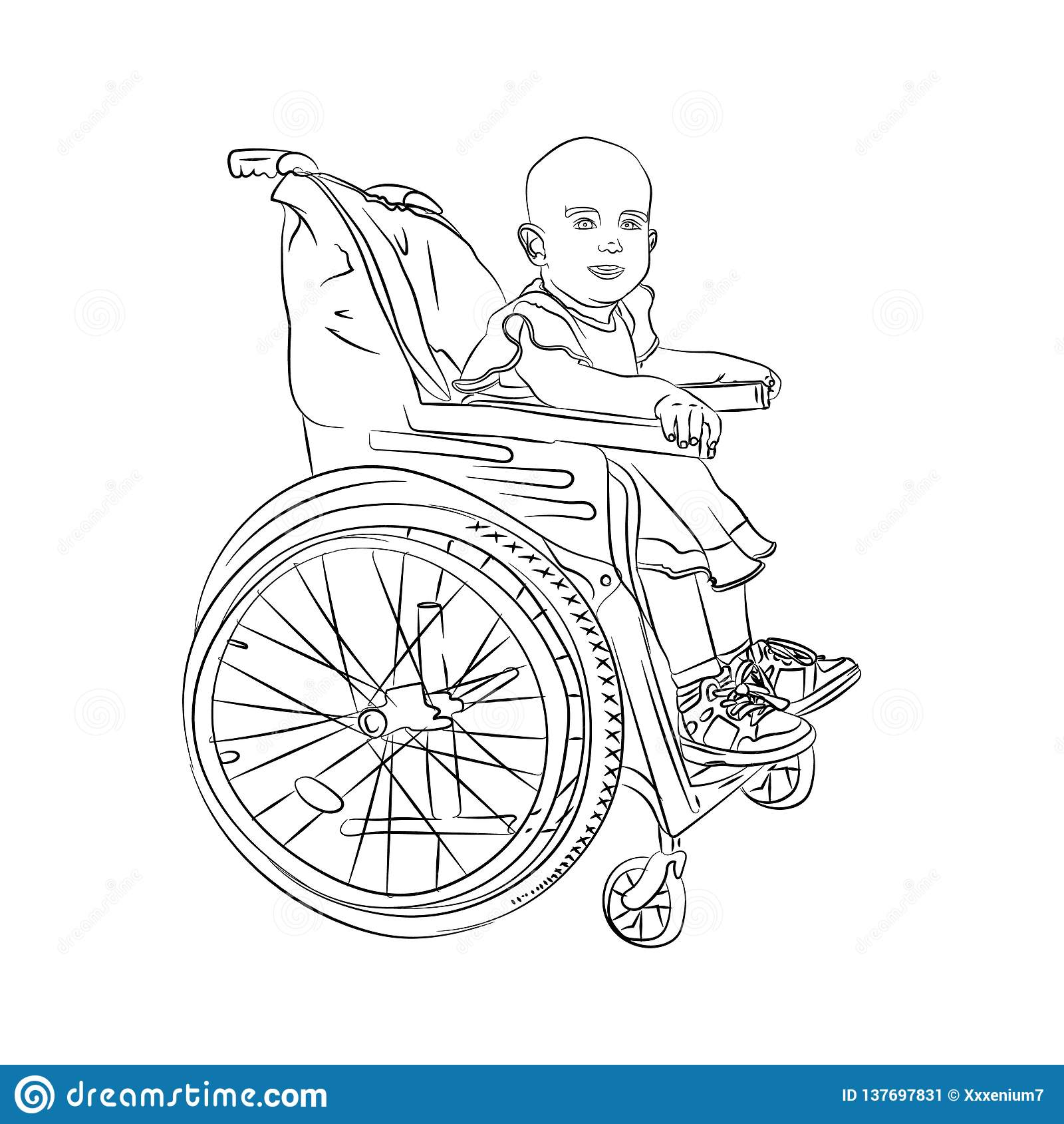 Mały dziecko jest chory dziecko w wózku inwalidzkim