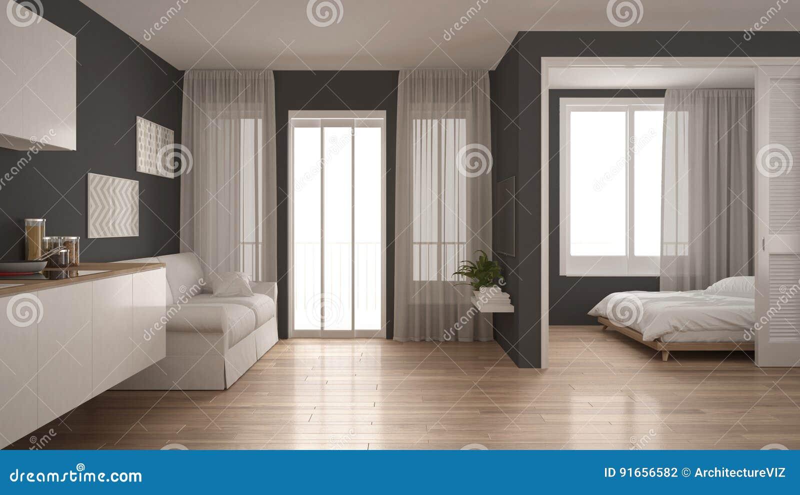Mały Mieszkanie Z Kuchnią żywym Pokojem I Sypialnią Biel I