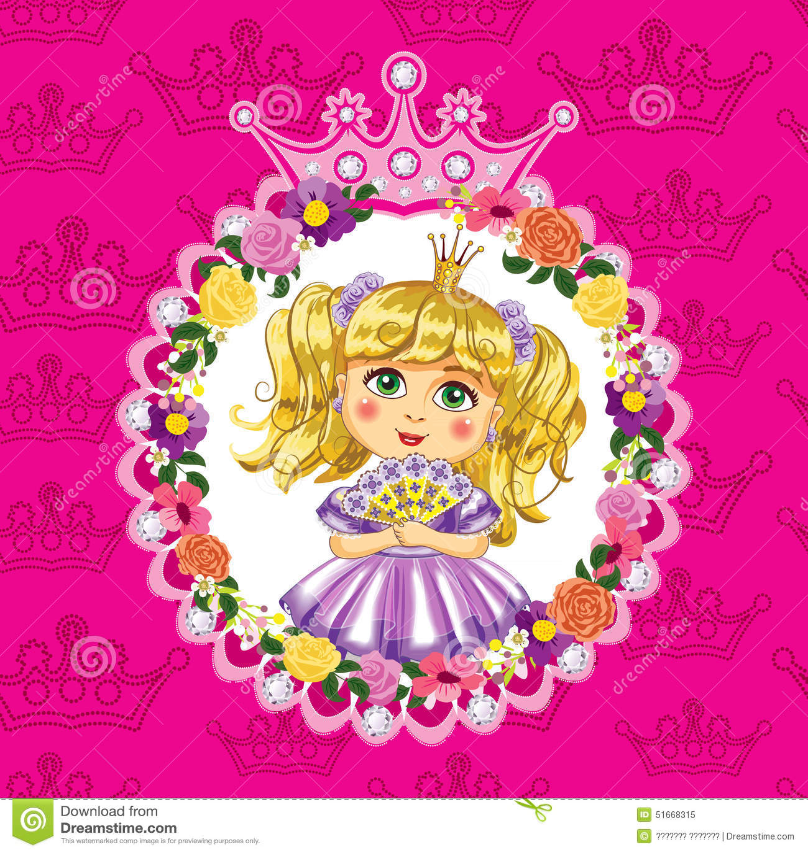 Mały princess, blondynka, na różowym tle