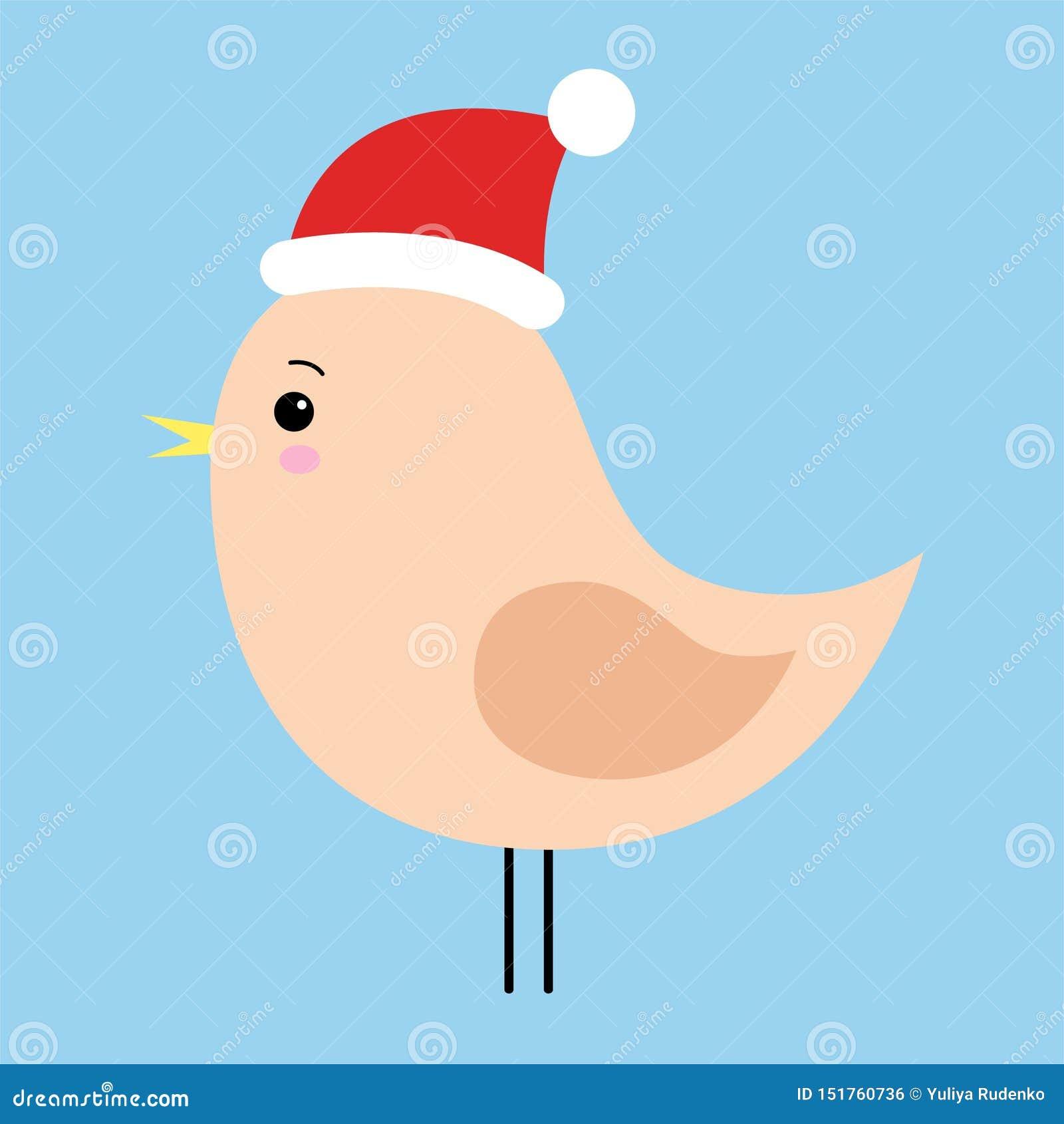 Mały ptak odizolowywający na błękitnym tle Bo?e Narodzenia Santa claus kapelusz Zima r?wnie? zwr?ci? corel ilustracji wektora Dla