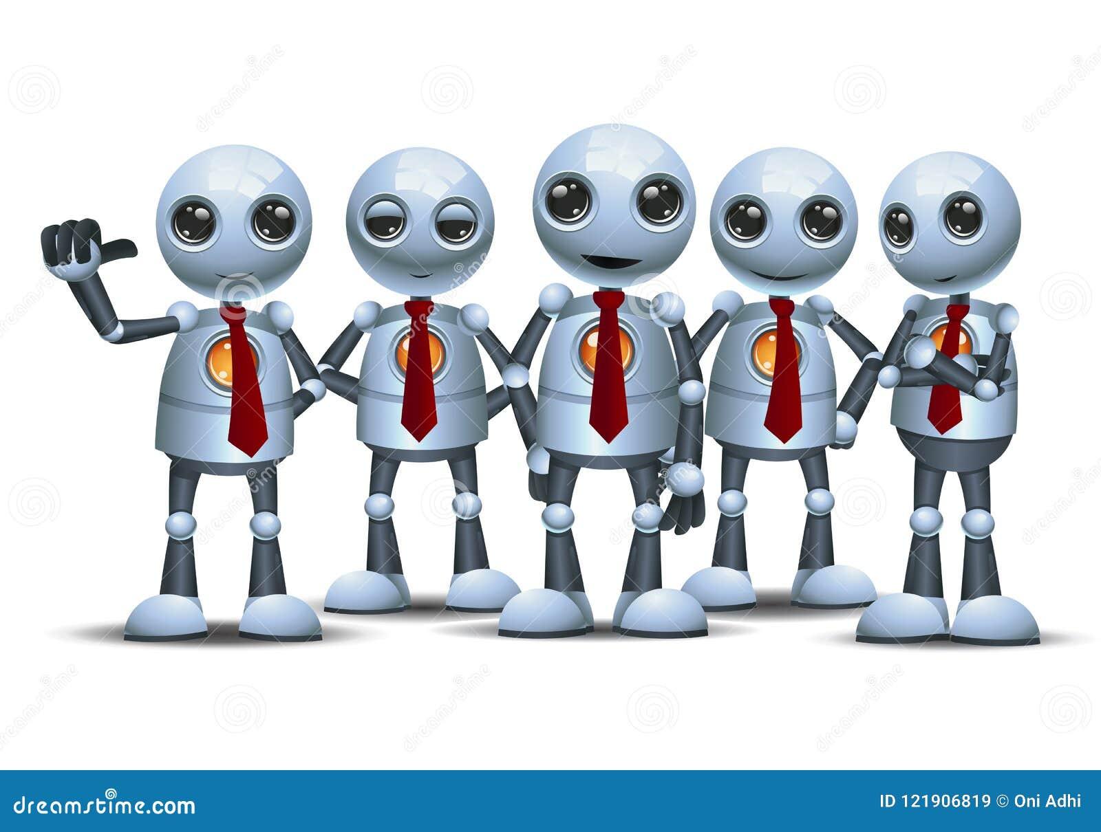 Mały robot z drużyną na odosobnionym białym tle