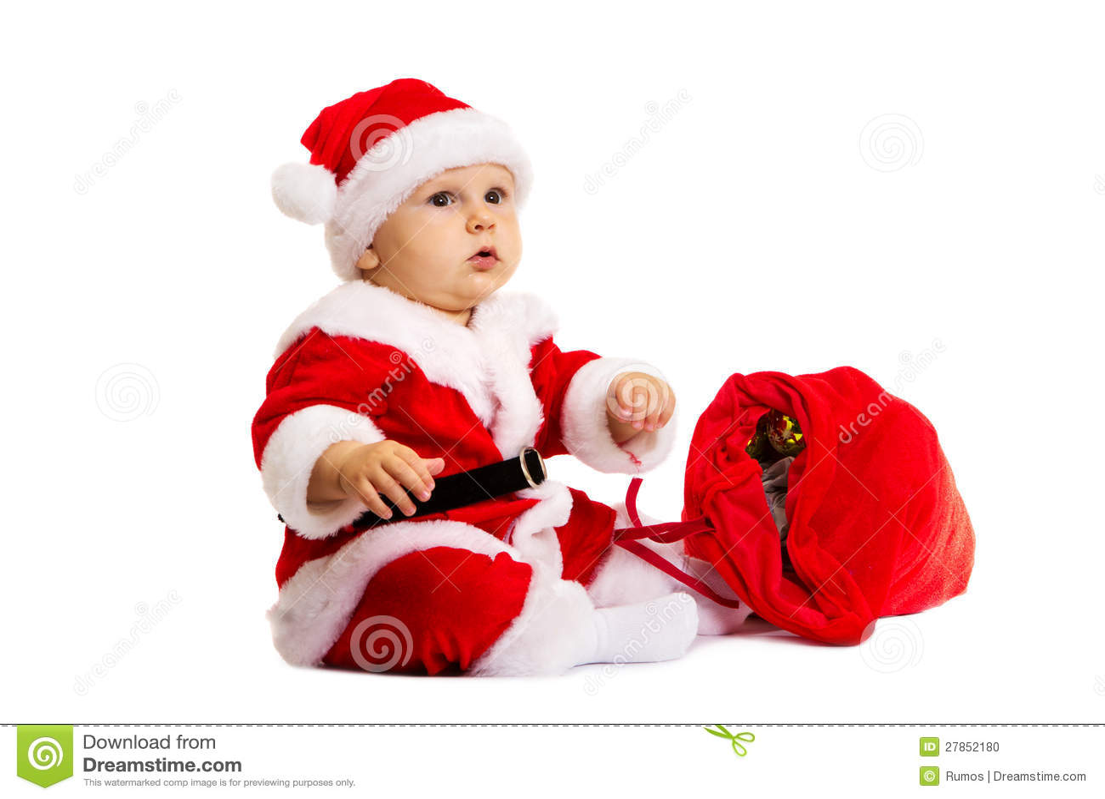 Mały Santa z czerwoną torbą dla prezentów zbliżać on