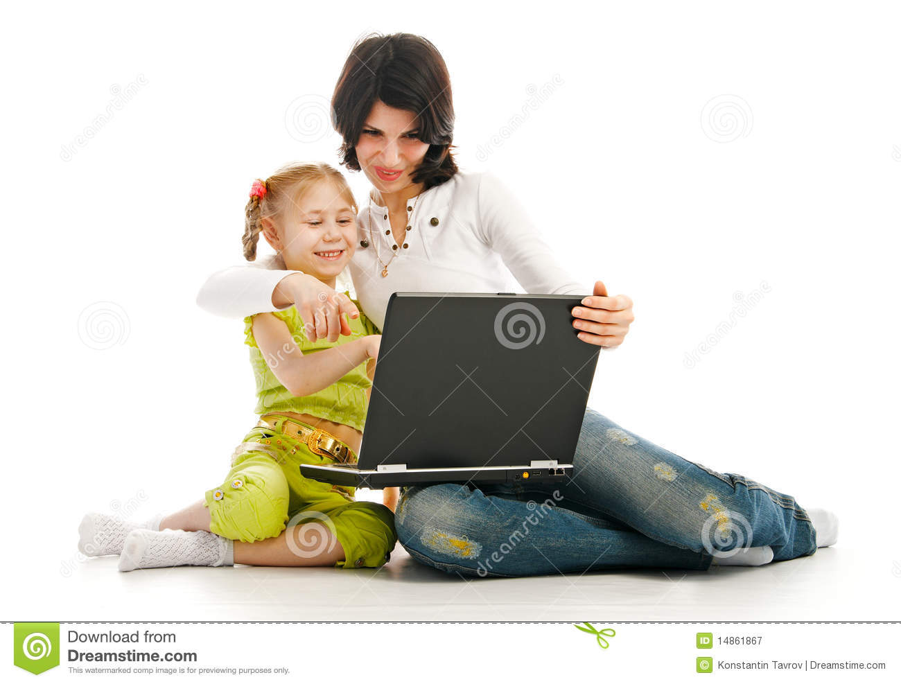 Ma and child with laptop