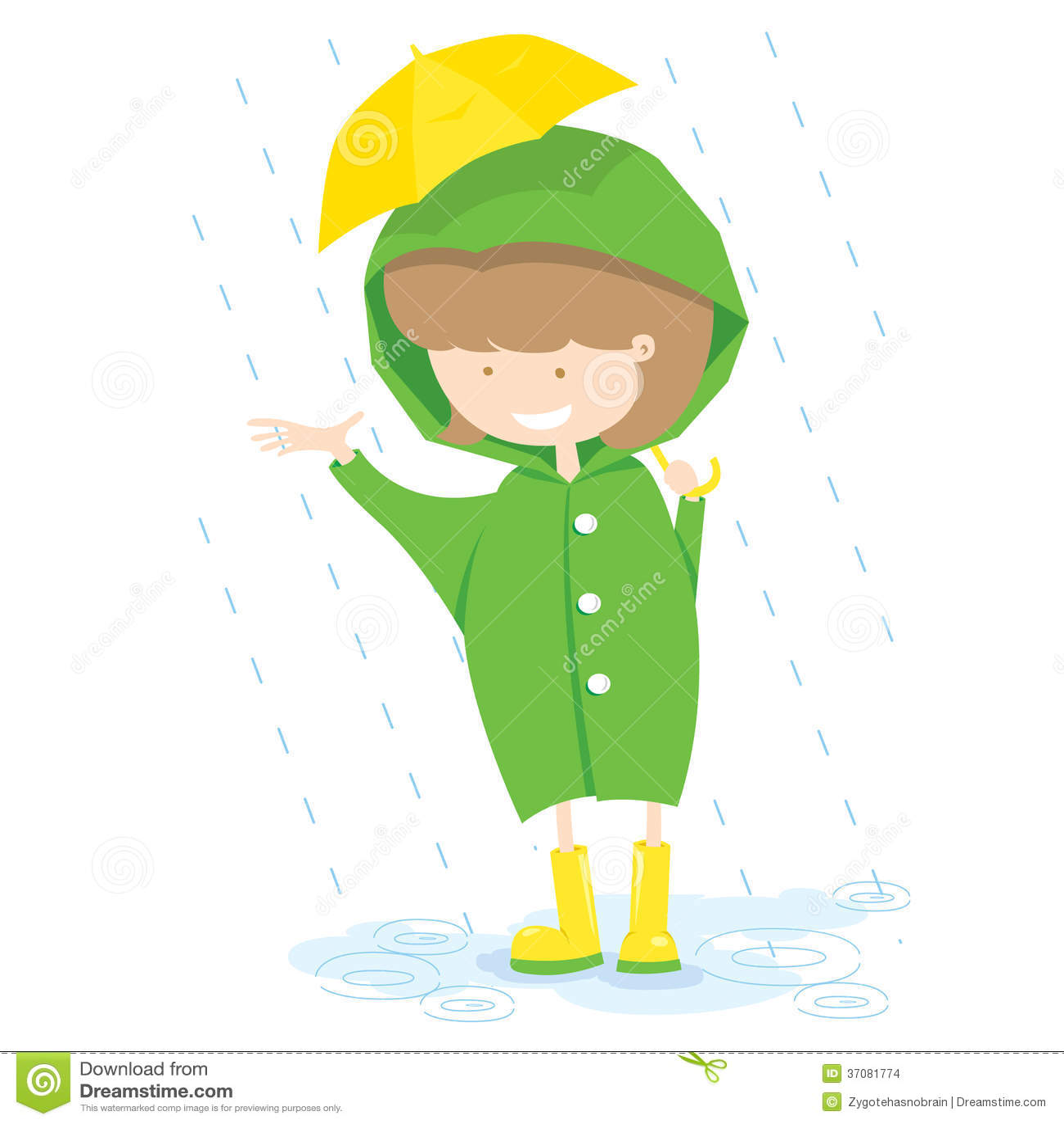 Download Mała Dziewczynka W Deszczowym Dniu. Ilustracja Wektor - Ilustracja złożonej z kreskówka, grafika: 37081774