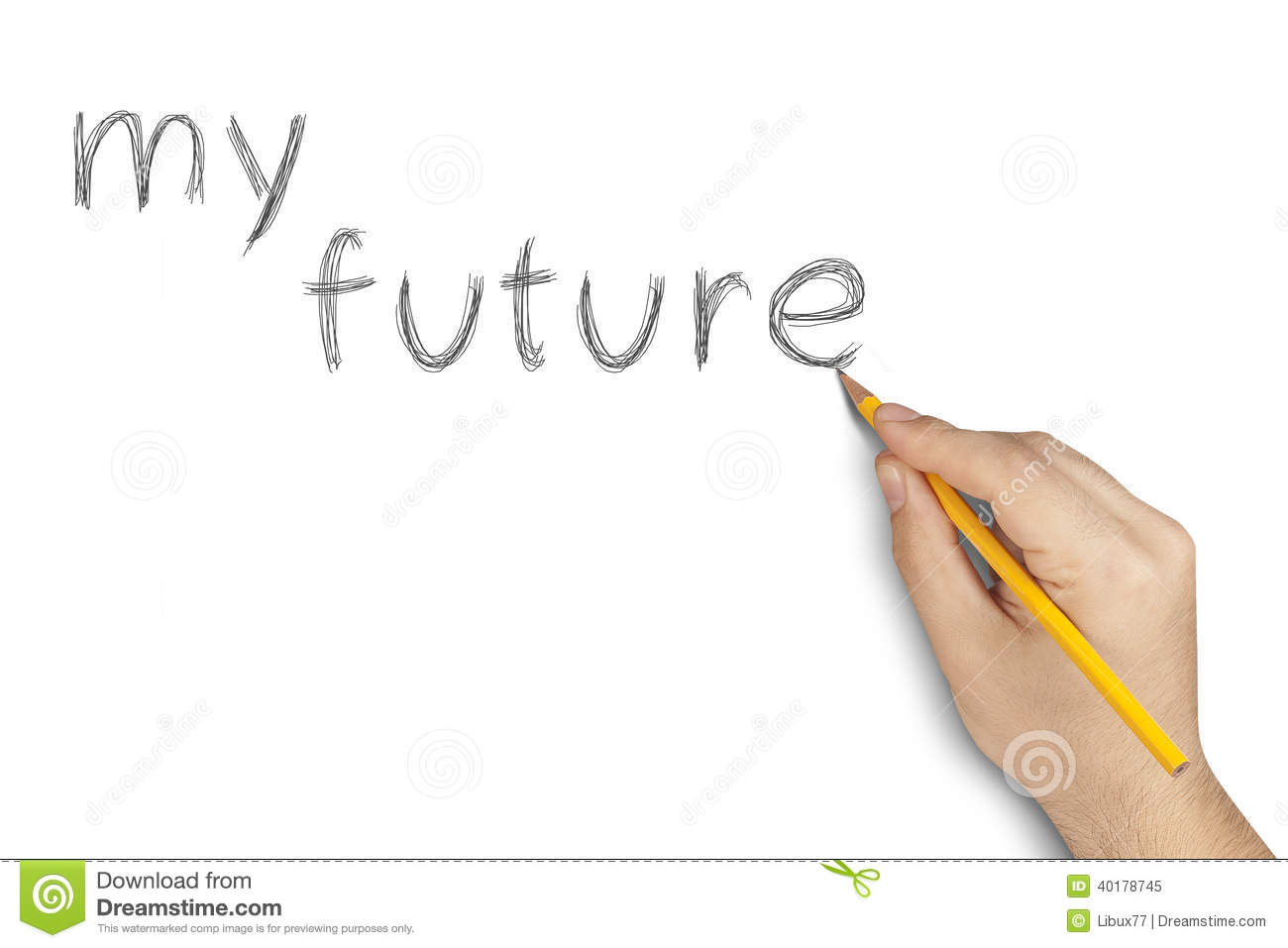 Ma Future Main De Crayon 233 Crivant Le Blanc Photo Stock