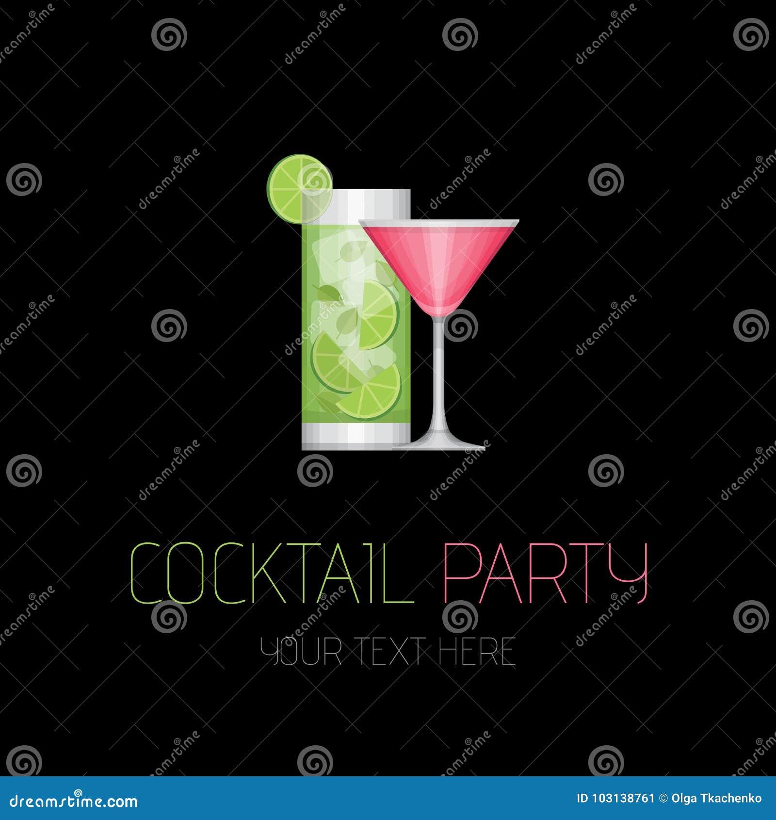 Ma młodych partyjnych ludzi koktajl zabawa Koktajlu prętowy logotyp Płaski projekta styl, wektor