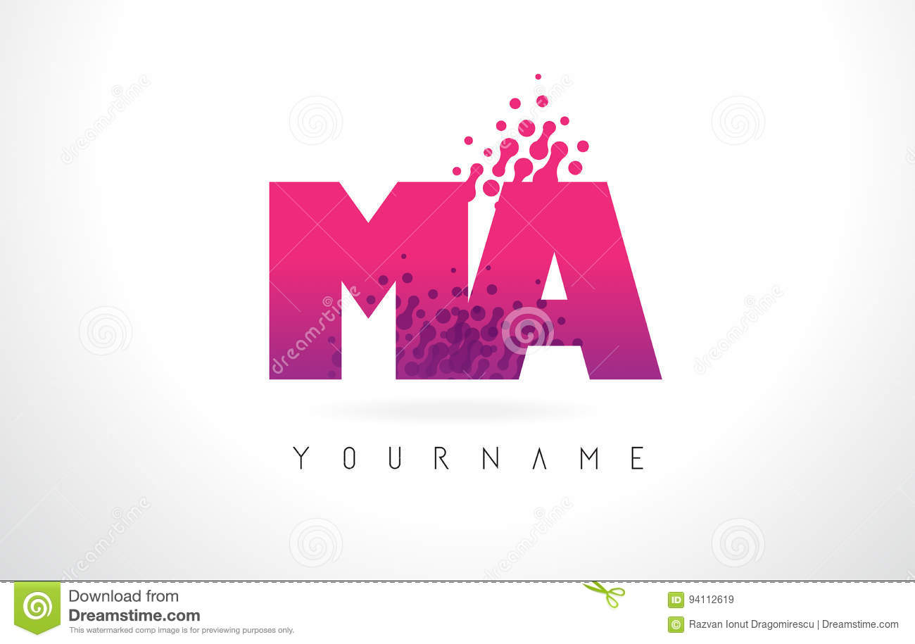 MA M A Letter Logo With Pink Purple Color And Particles Dots Des ...