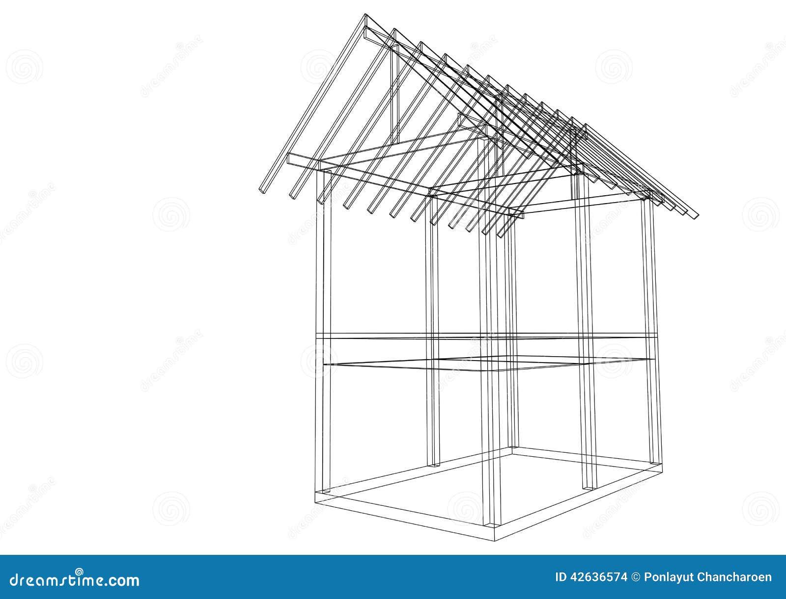 Ma maison de structure de toit de dessin d 39 illustration for Toit de maison dessin