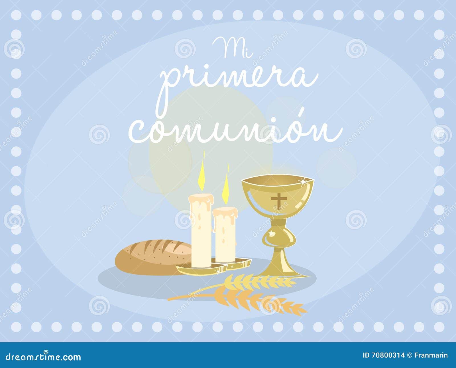Ma Premiere Communion Invitation Bleue De Carte Illustration De Vecteur Illustration Du Souvenir Ange 70800314