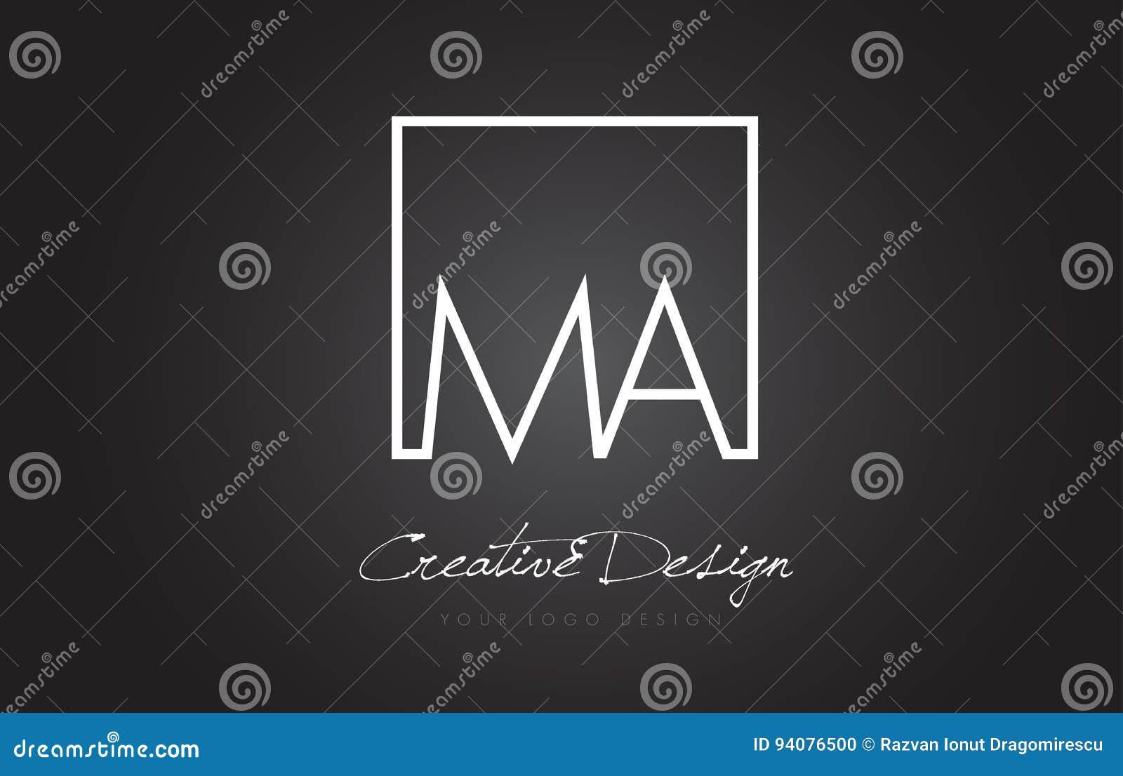 MA-Quadrat-Rahmen-Buchstabe Logo Design Mit Schwarzweiss-Farben ...