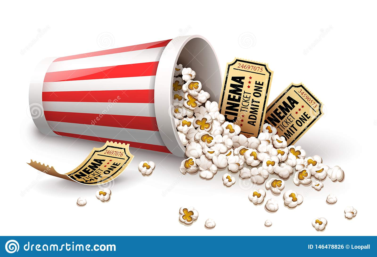 Ma?s ?clat? dans le seau de papier Pleins billets de cinéma de tasse et d or Illustration de vecteur