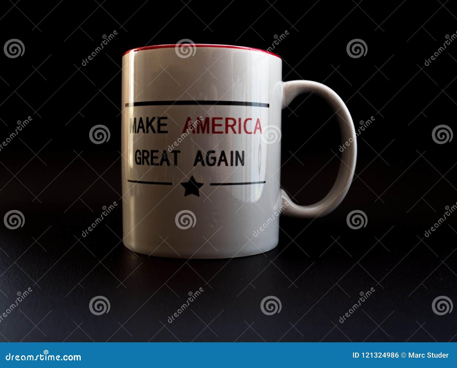 Maak Amerika opnieuw tot grote koffiekop in campagne van de studio de lichte troef