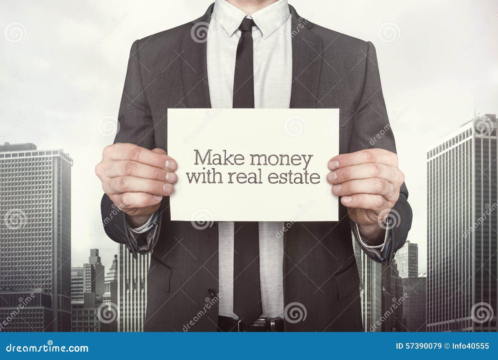 Maak geld met onroerende goederentekst op papier