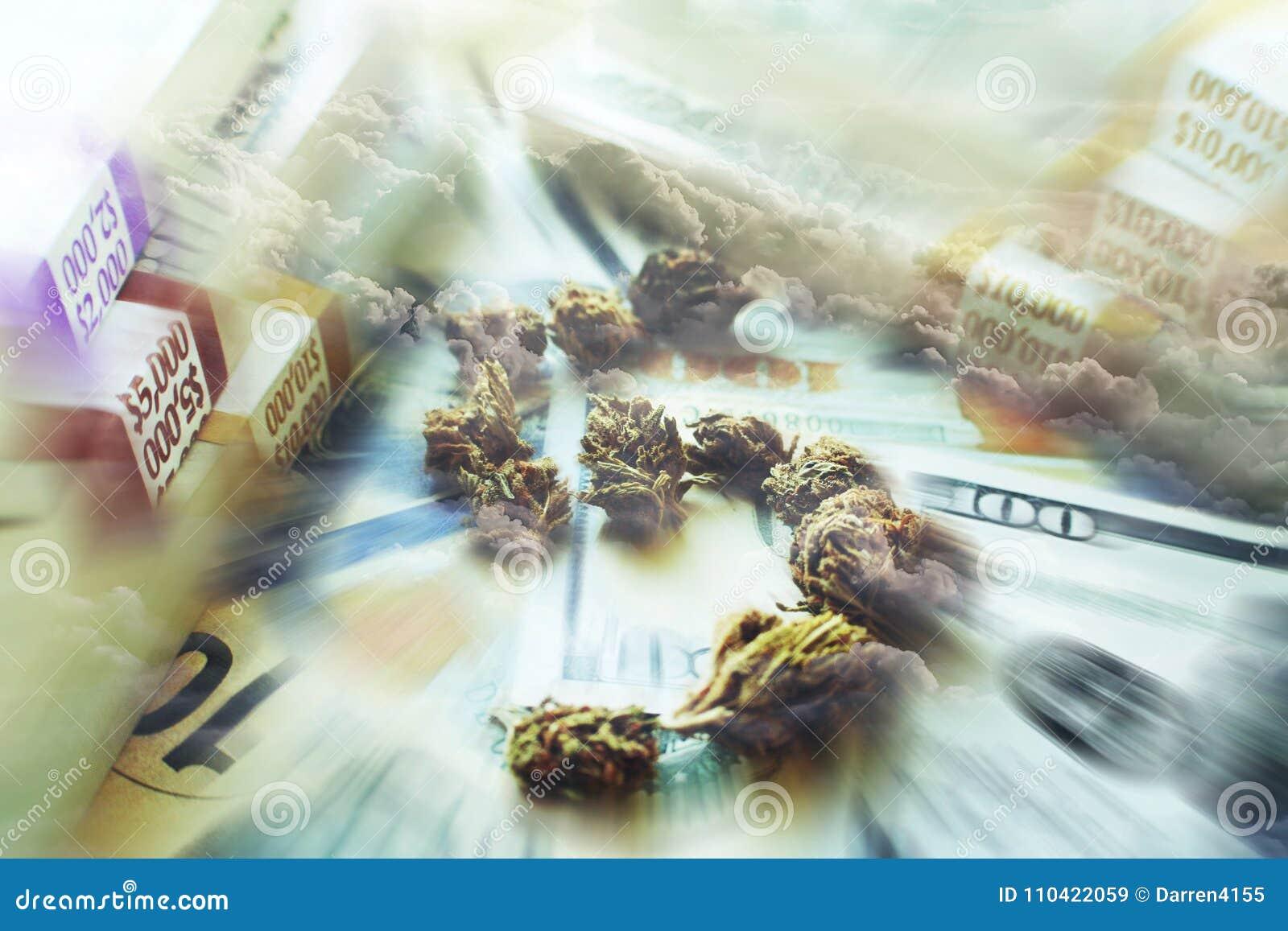 Maakten de marihuana` s Grote Winsten met Dollarteken uit Bud With Stacks Of Money met Hoge Wolken - kwaliteit