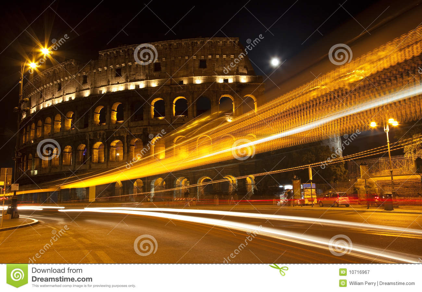 Maan Rome Italië van de Nacht van de Straat van Colosseum de Abstracte