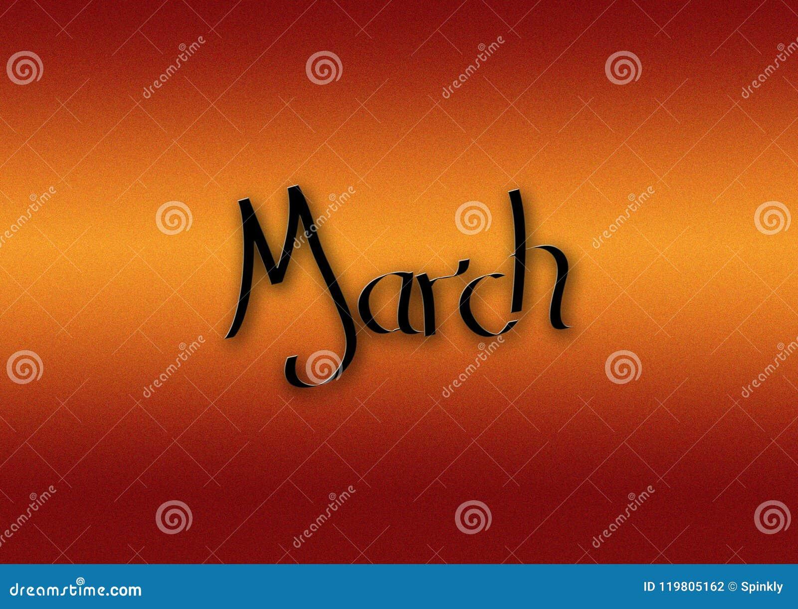 Maand van de van letters voorziende achtergrond van Maart