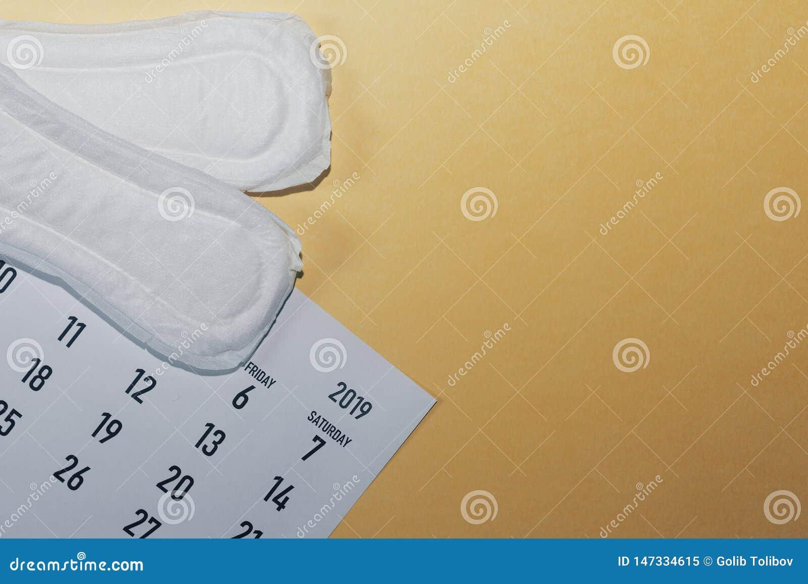 Maandelijkse kalender en sanitaire stootkussens De kalender van de menstruatiecyclus Het concept van de vrouwengezondheid