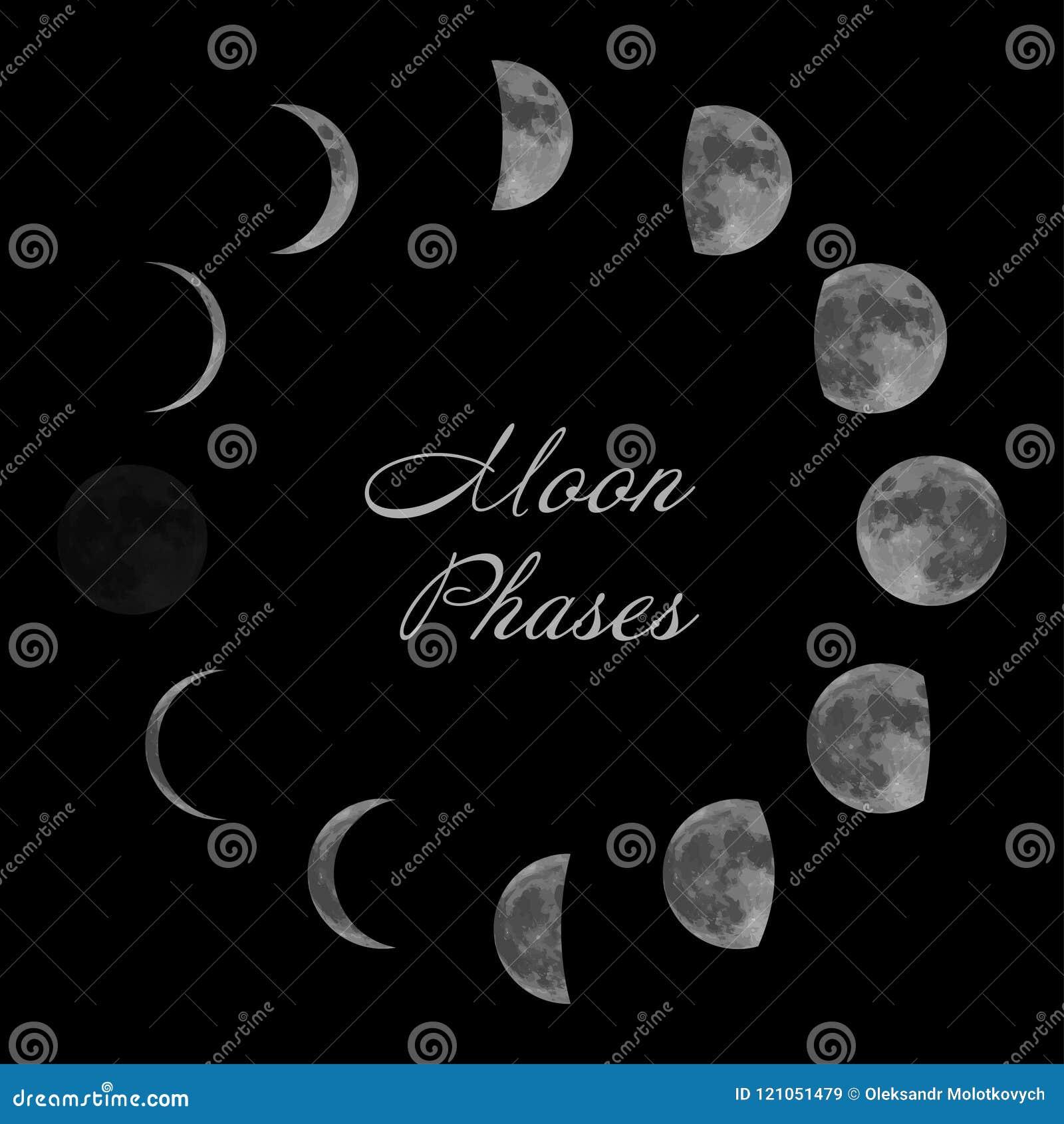 Maanfasen voor maankalender Geïsoleerde op zwarte achtergrond Vector
