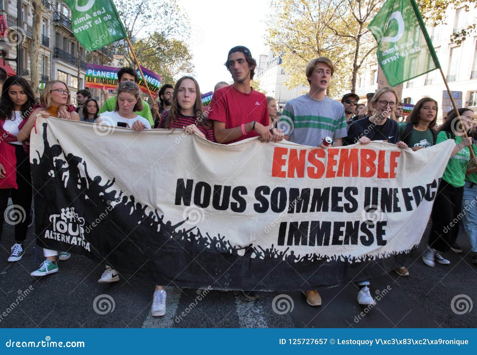 Maart voor het klimaat - Ecologische demonstratie De Zaterdag van Parijs Frankrijk, 08 September, 2018