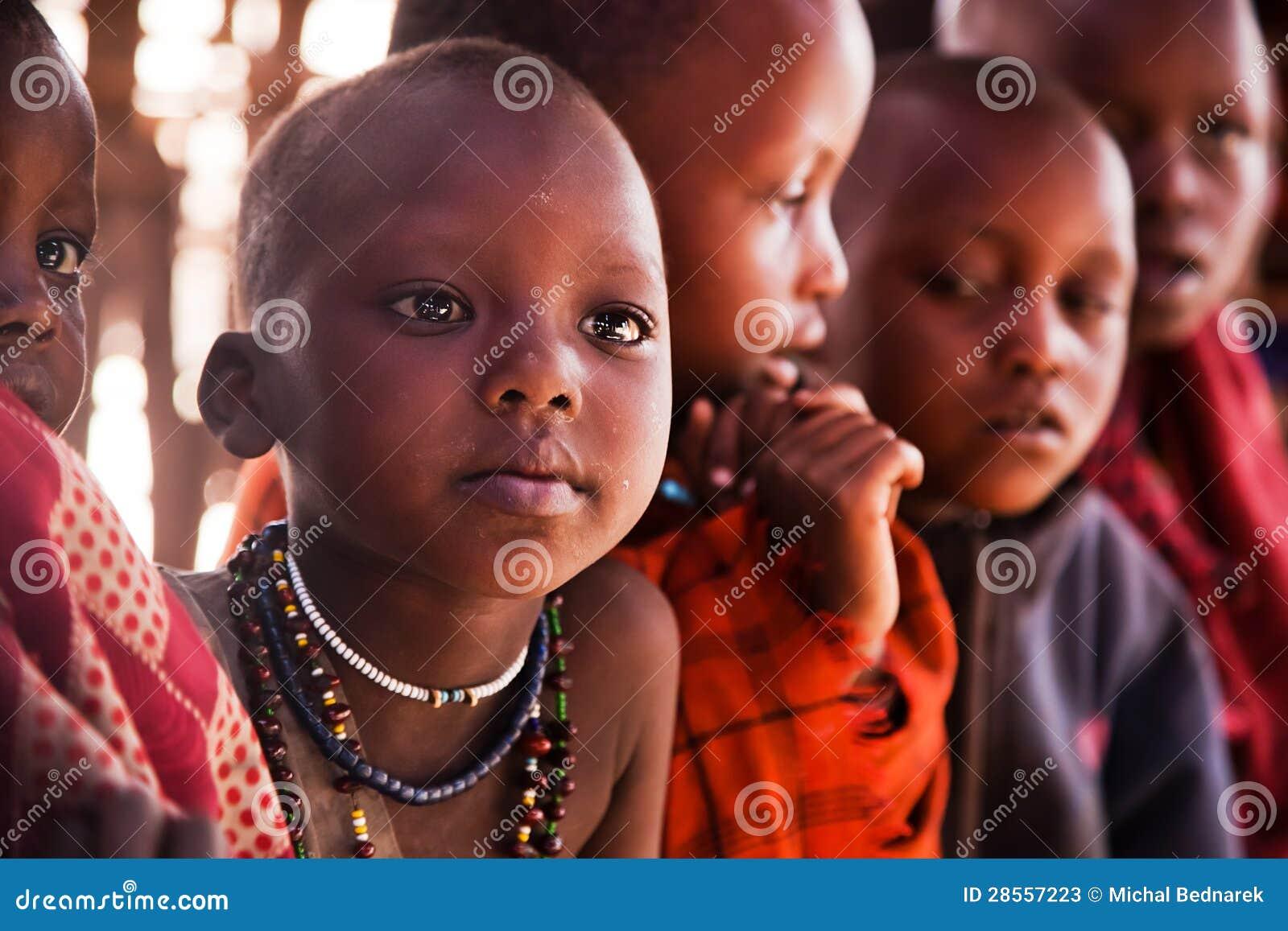 Maasai子项在学校在坦桑尼亚,非洲