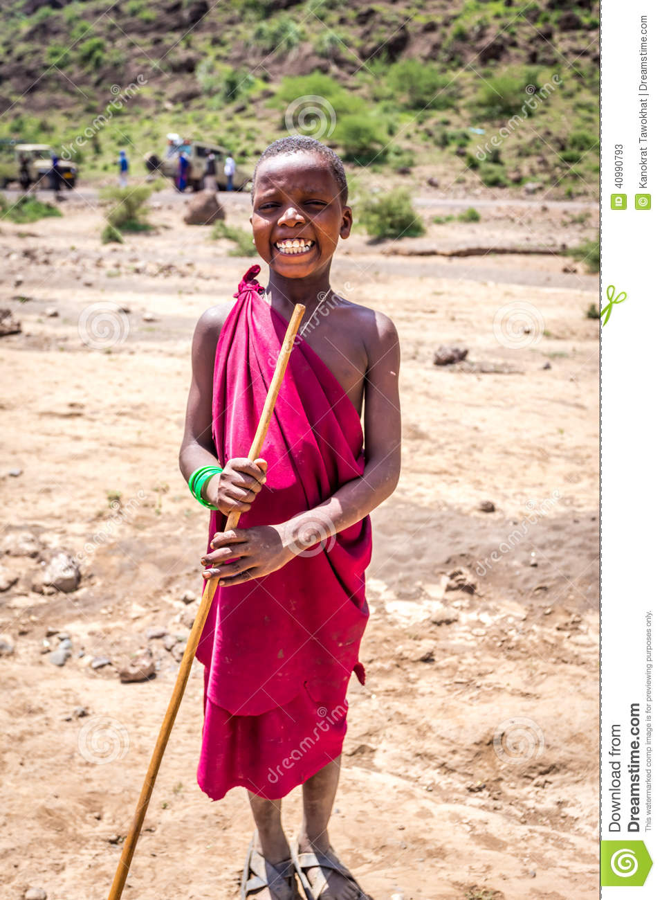 Maasai Unidentified Children In Traditional Dress Smile
