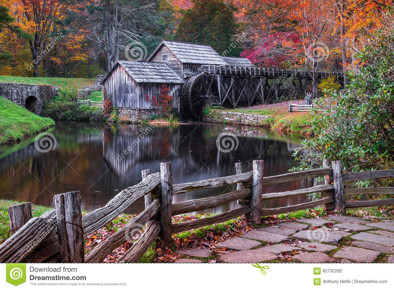 mabry mill  blue ridge parkway  virginia in autumn royalty