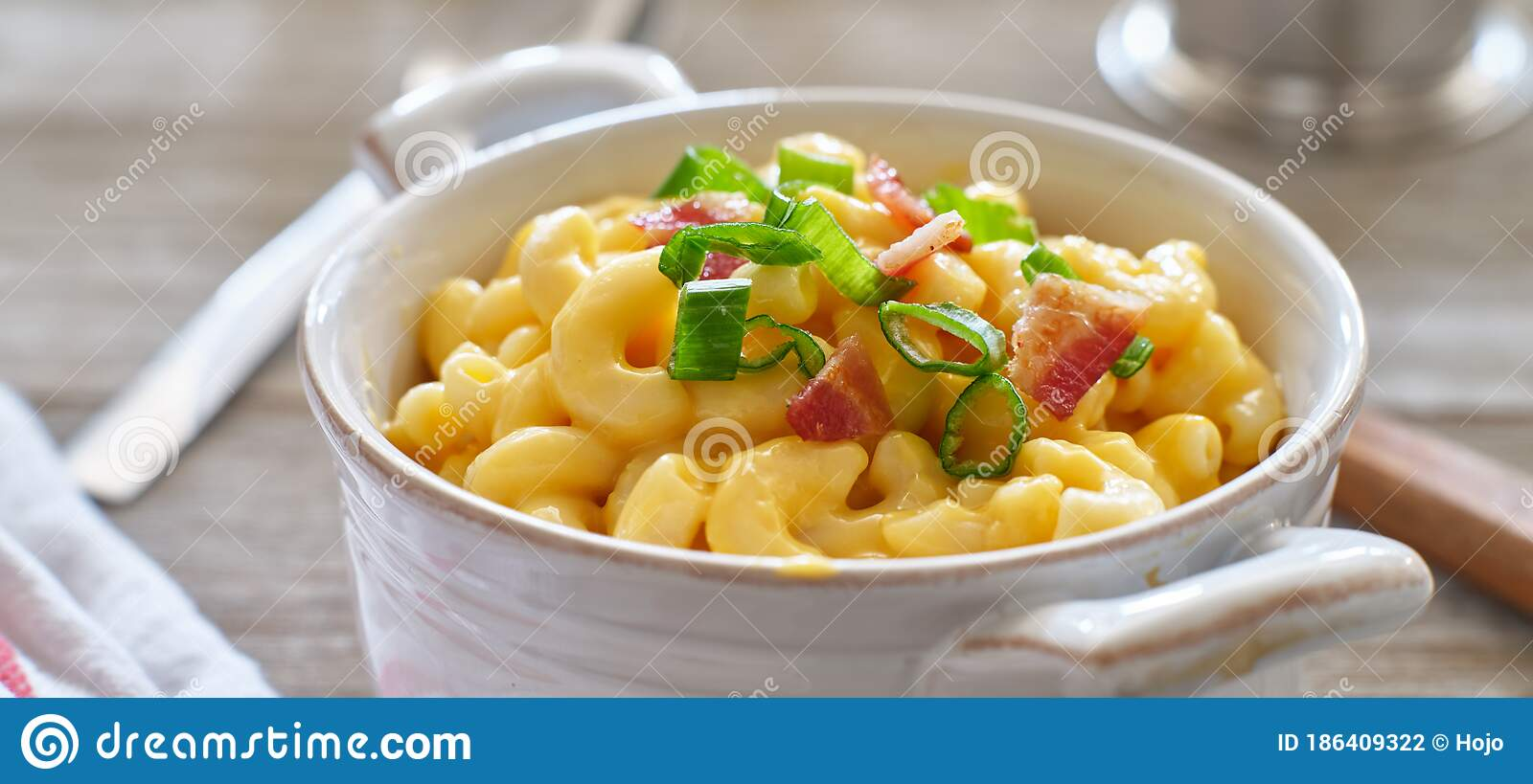 Mac And Cheese In Dish With Scallions And Bacon Garnish Stock Photo Image Of Onions Dinner 186409322