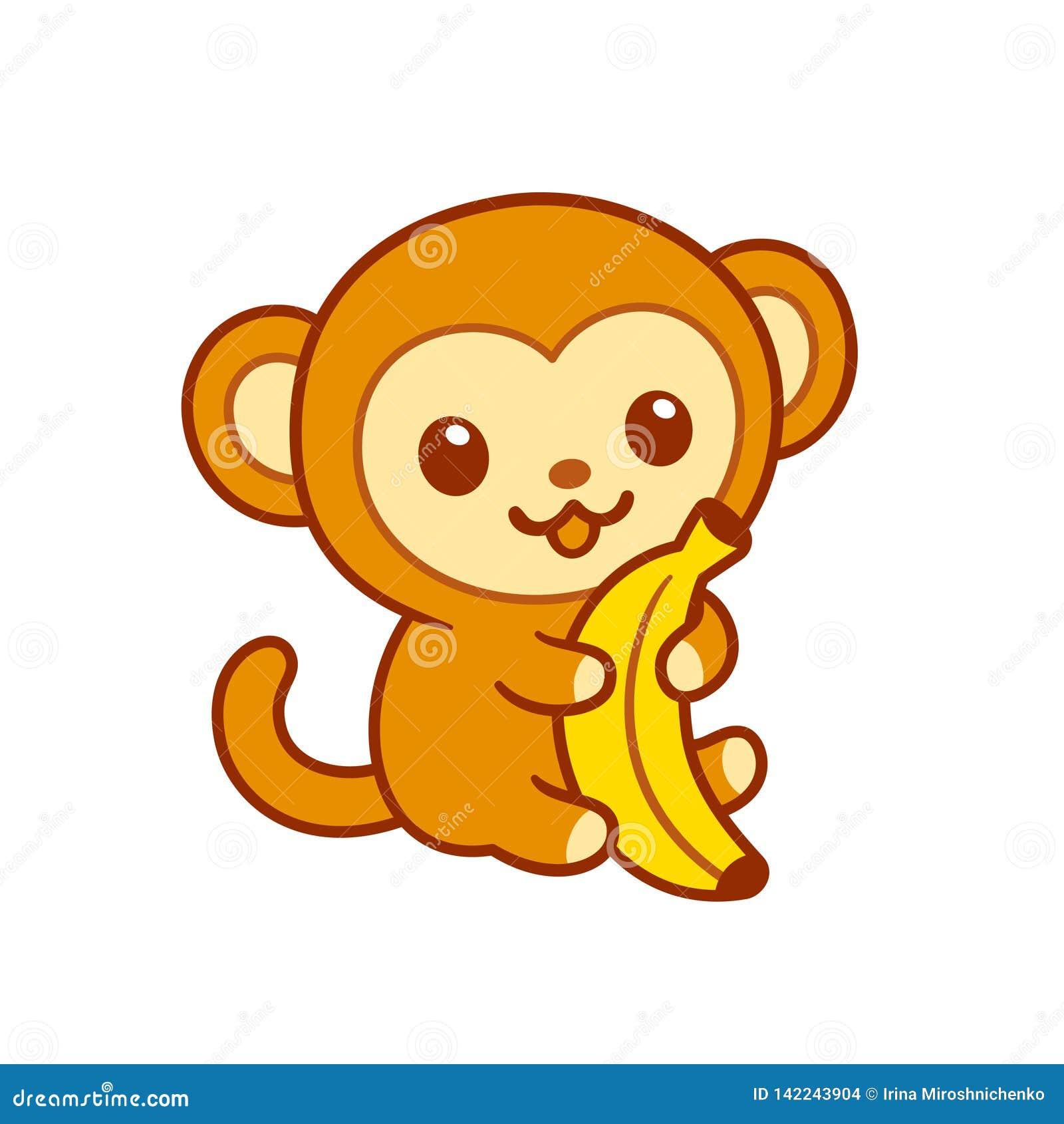 Macaco Bonito Do Bebe Dos Desenhos Animados Com Banana Ilustracao