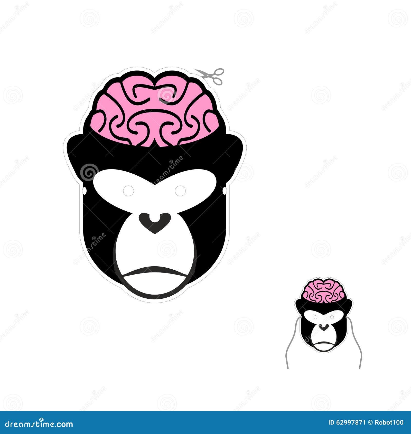 Macaco com máscara do carnaval dos cérebros Máscara engraçada para o Natal e o n