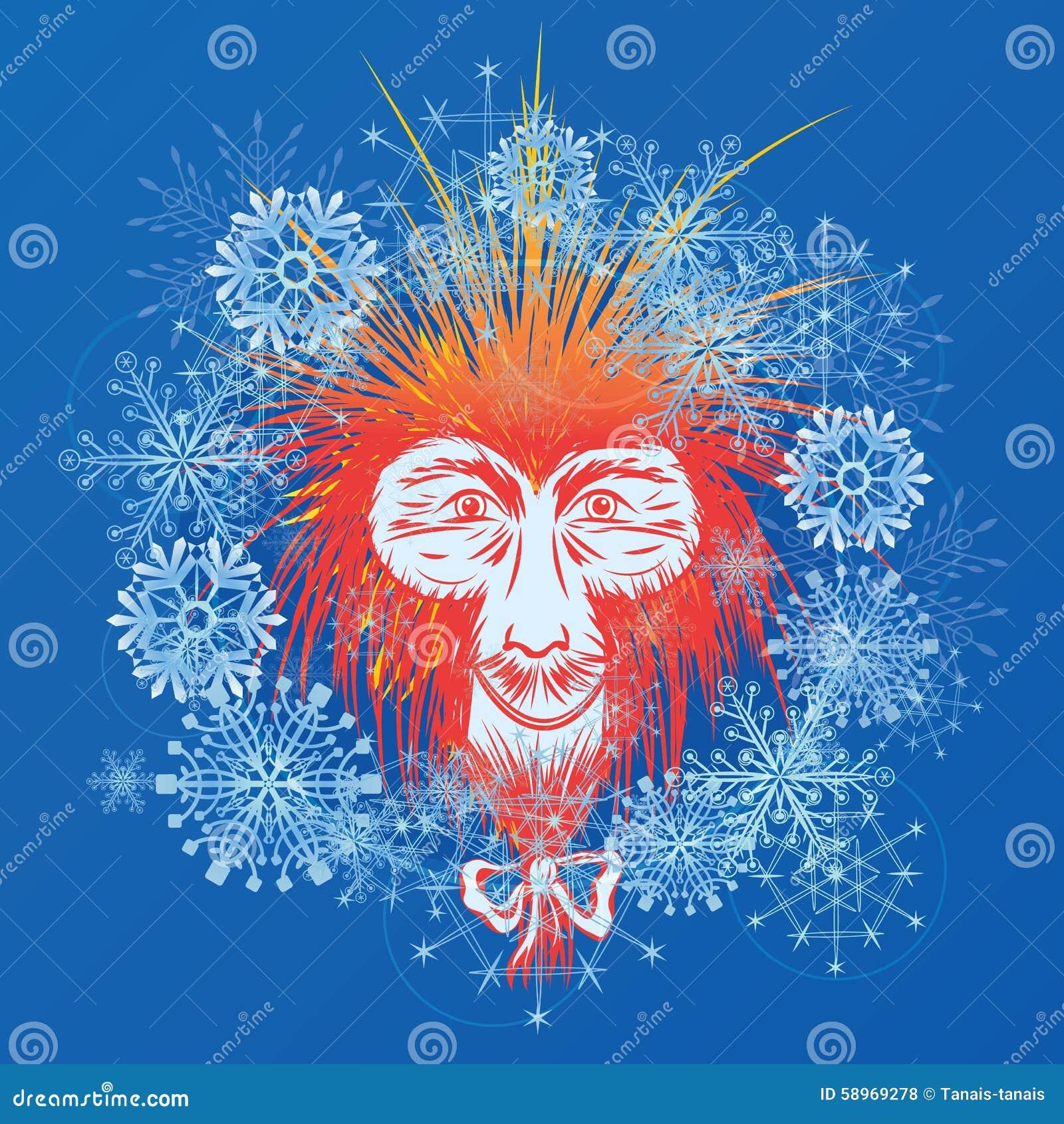 Macaco E Fiocchi Di Neve Giapponesi Illustrazione Vettoriale