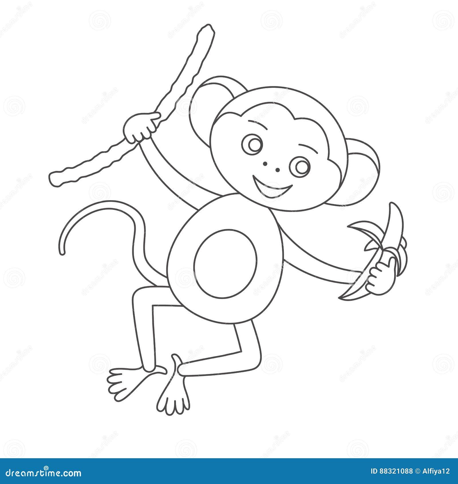 macaco para o livro para colorir ilustra u00e7 u00e3o do vetor