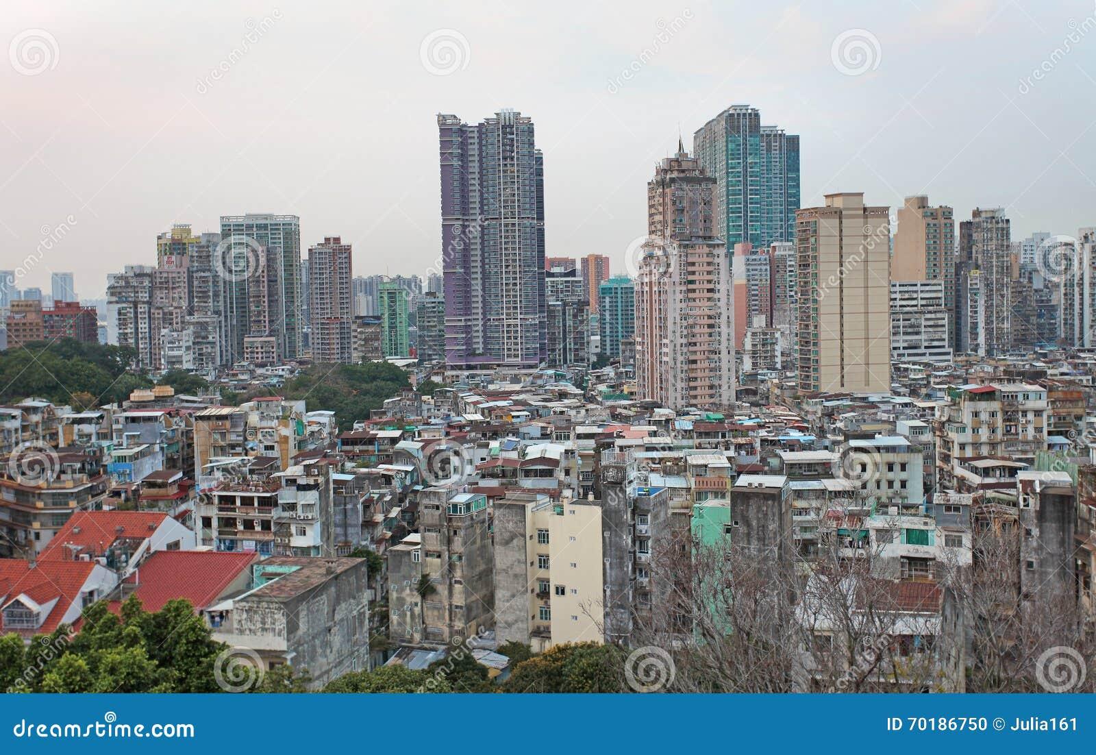Macao horisont från Guia Fortress
