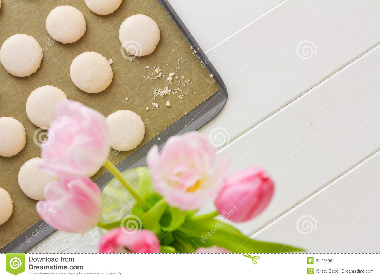 Macaron On Baking Sheet With Crumbs Royalty Free Stock Images - Image ...