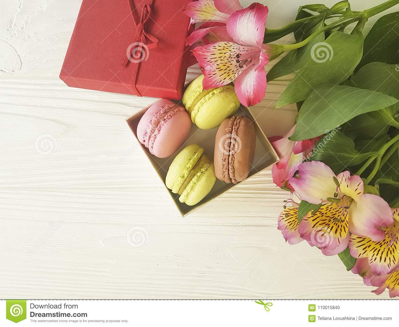 Macaron color in a box on bakery white wooden background macaron color in a box on bakery white wooden background alstroemeria flower mightylinksfo