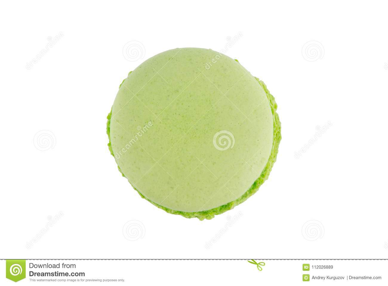 Macaron cookie green apple of color, on white background