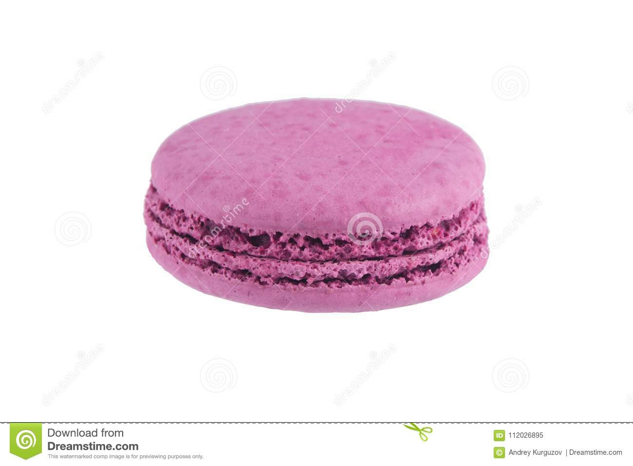 Macaron cookie purple colors, isolated on white background