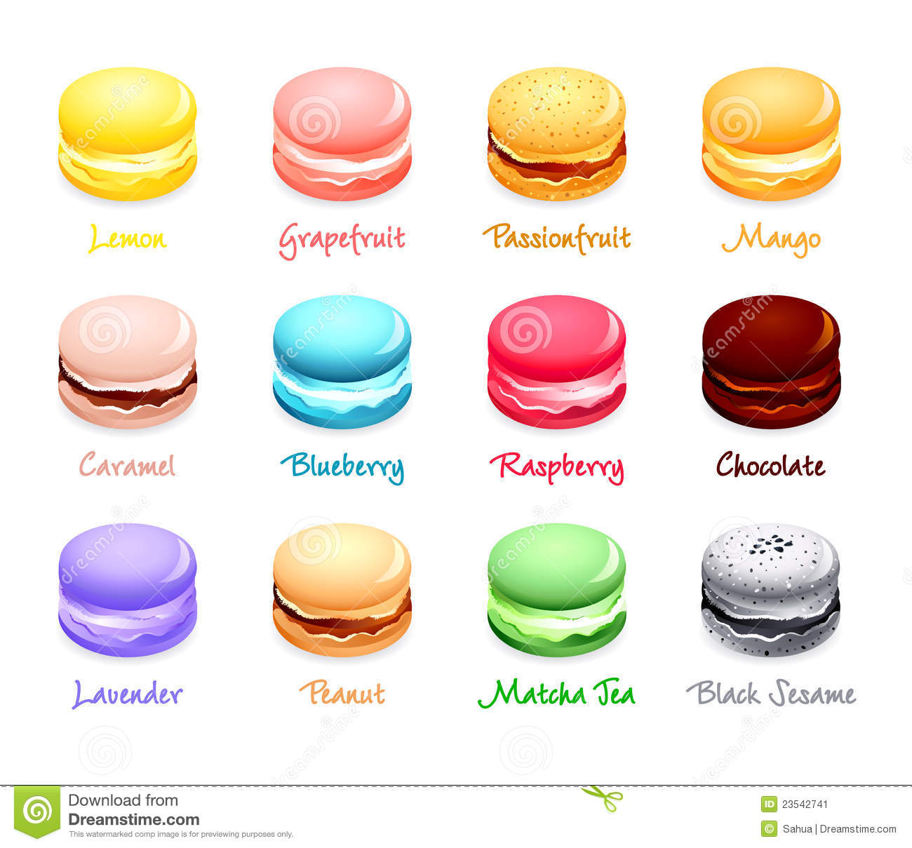 Colorful french macaron cookies with different flavors.
