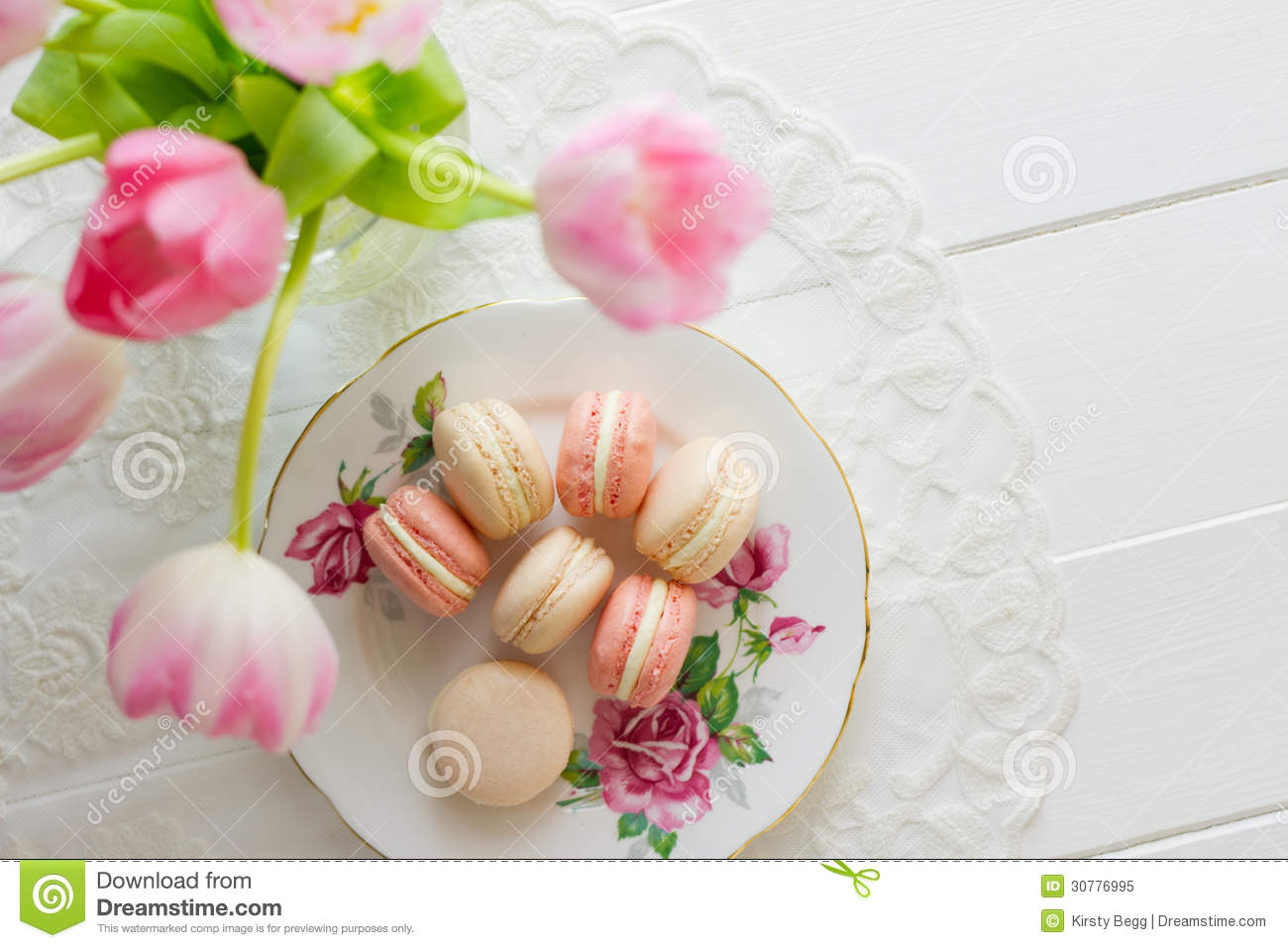 Macaron On A Porcelain Plate Royalty Free Stock Photo - Image ...