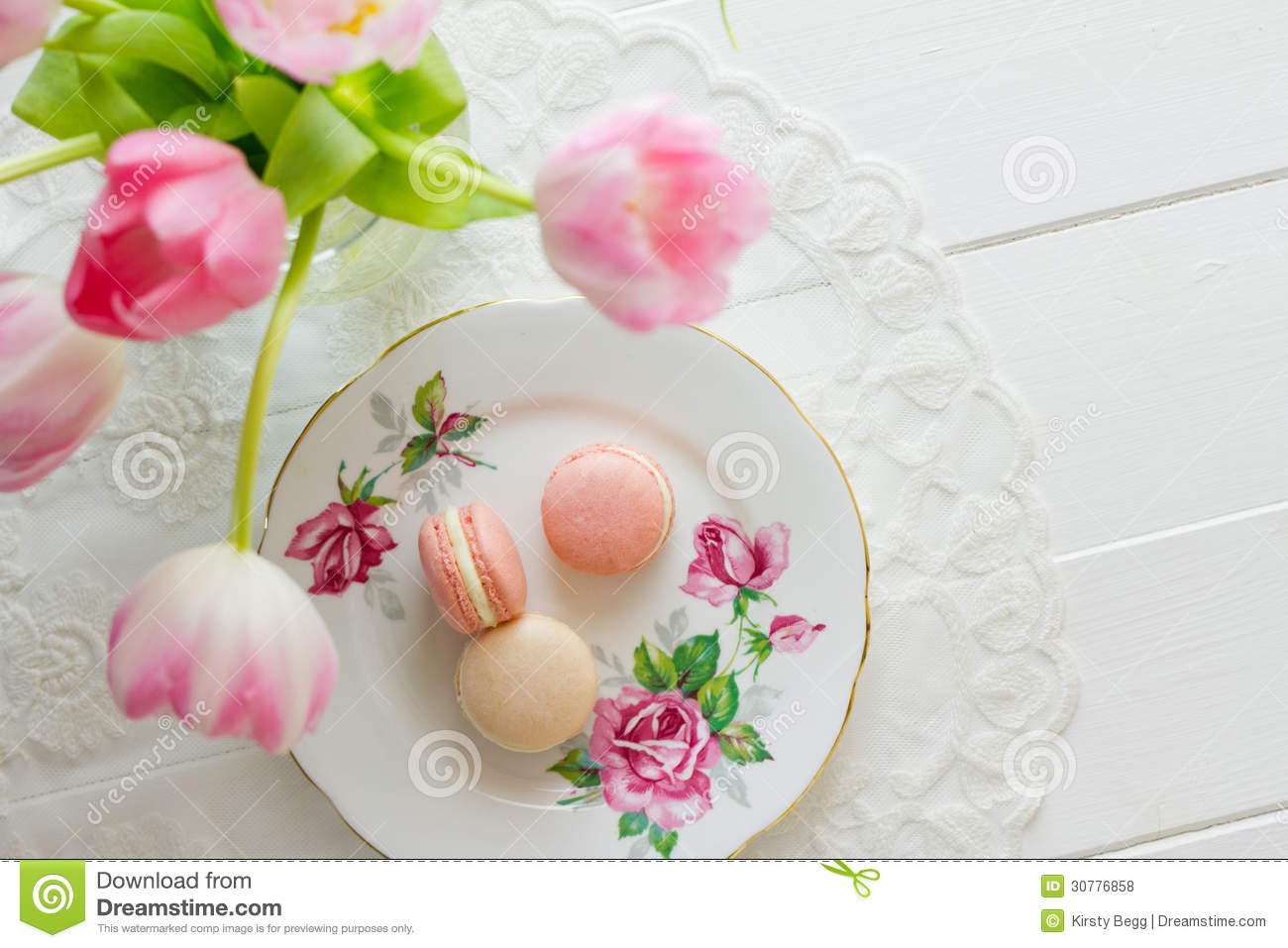 Macarons Above Through Flowers Royalty Free Stock Photos - Image ...