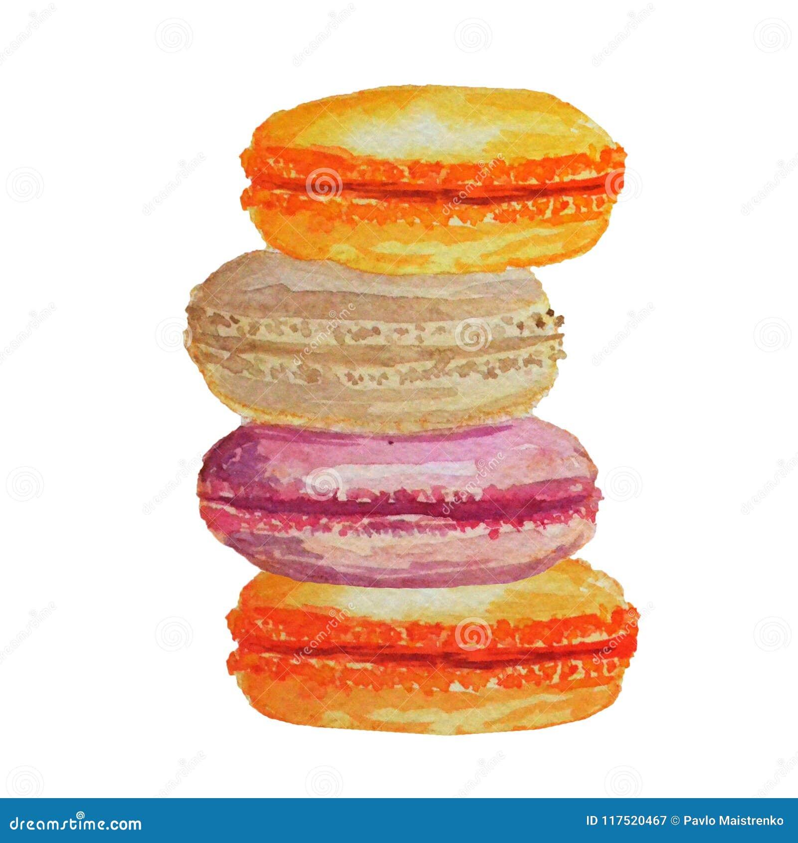 Macarons colorés d aquarelle sur un fond blanc