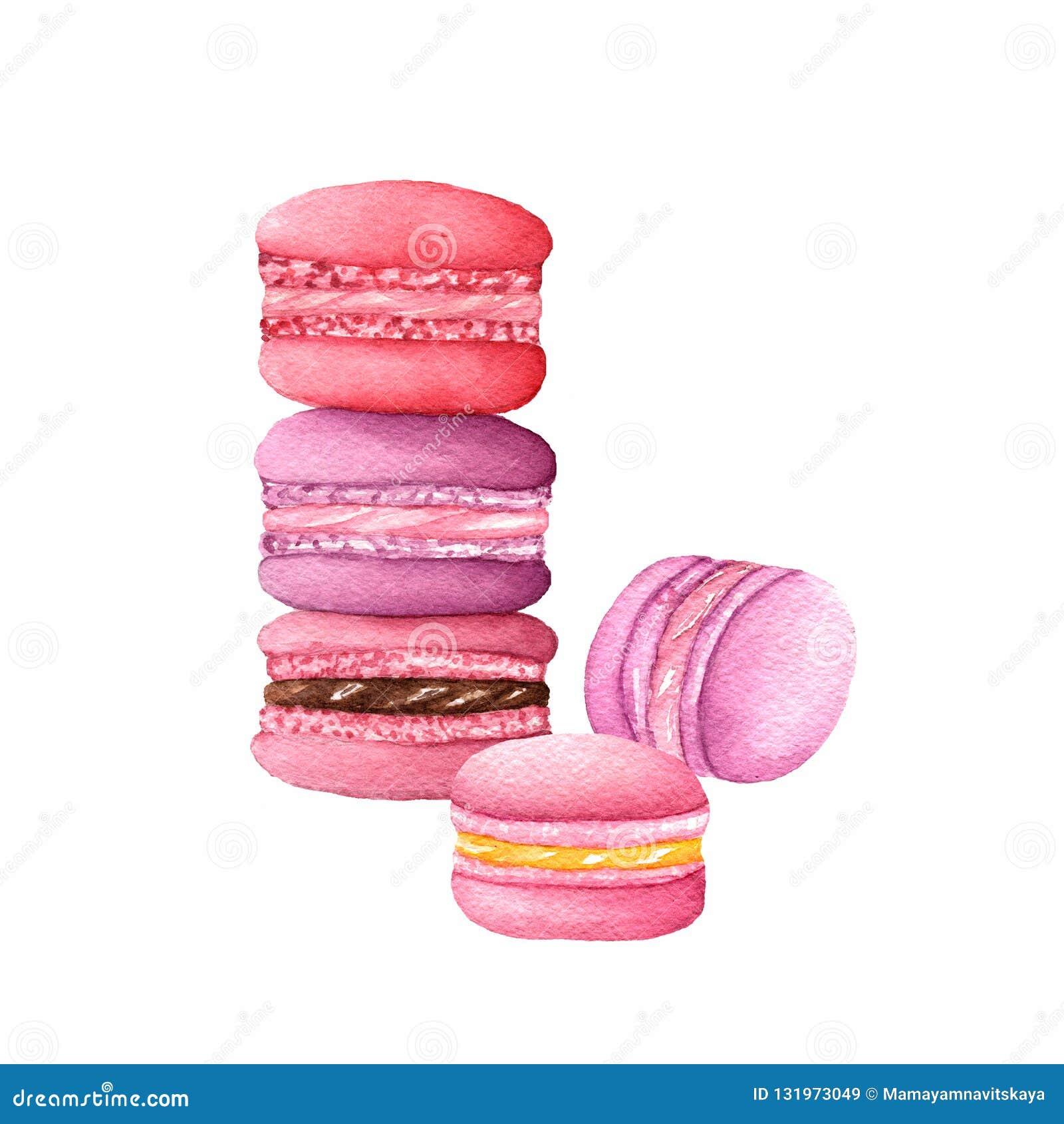 Macarons de la acuarela en colores púrpuras, rojos y rosados
