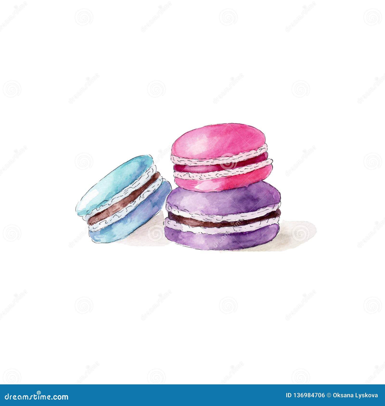 Macarons del color en el fondo blanco, ejemplo exhausto de la mano de la acuarela