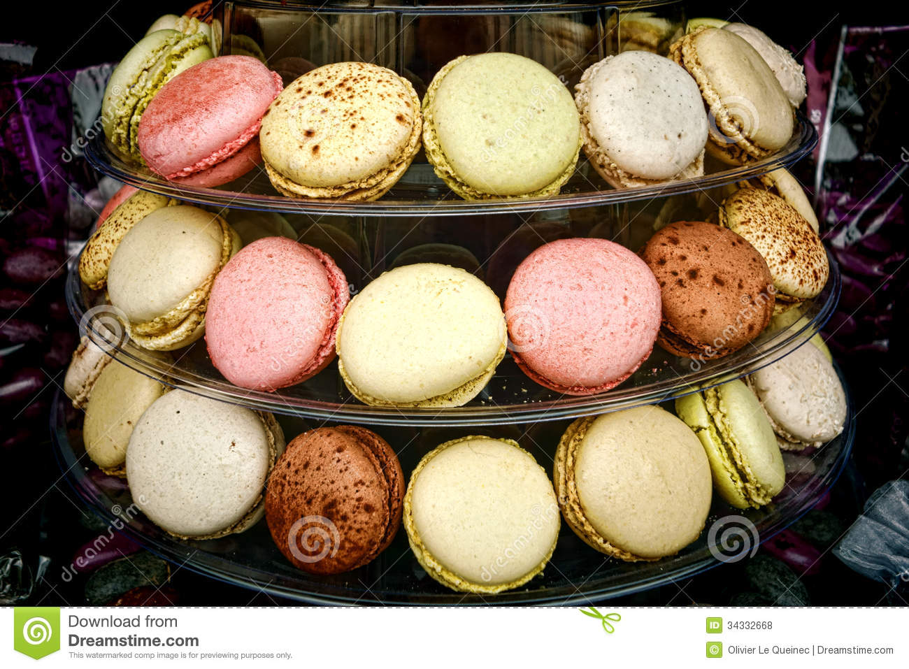 macaroon confection cookies display in pastry shop royalty