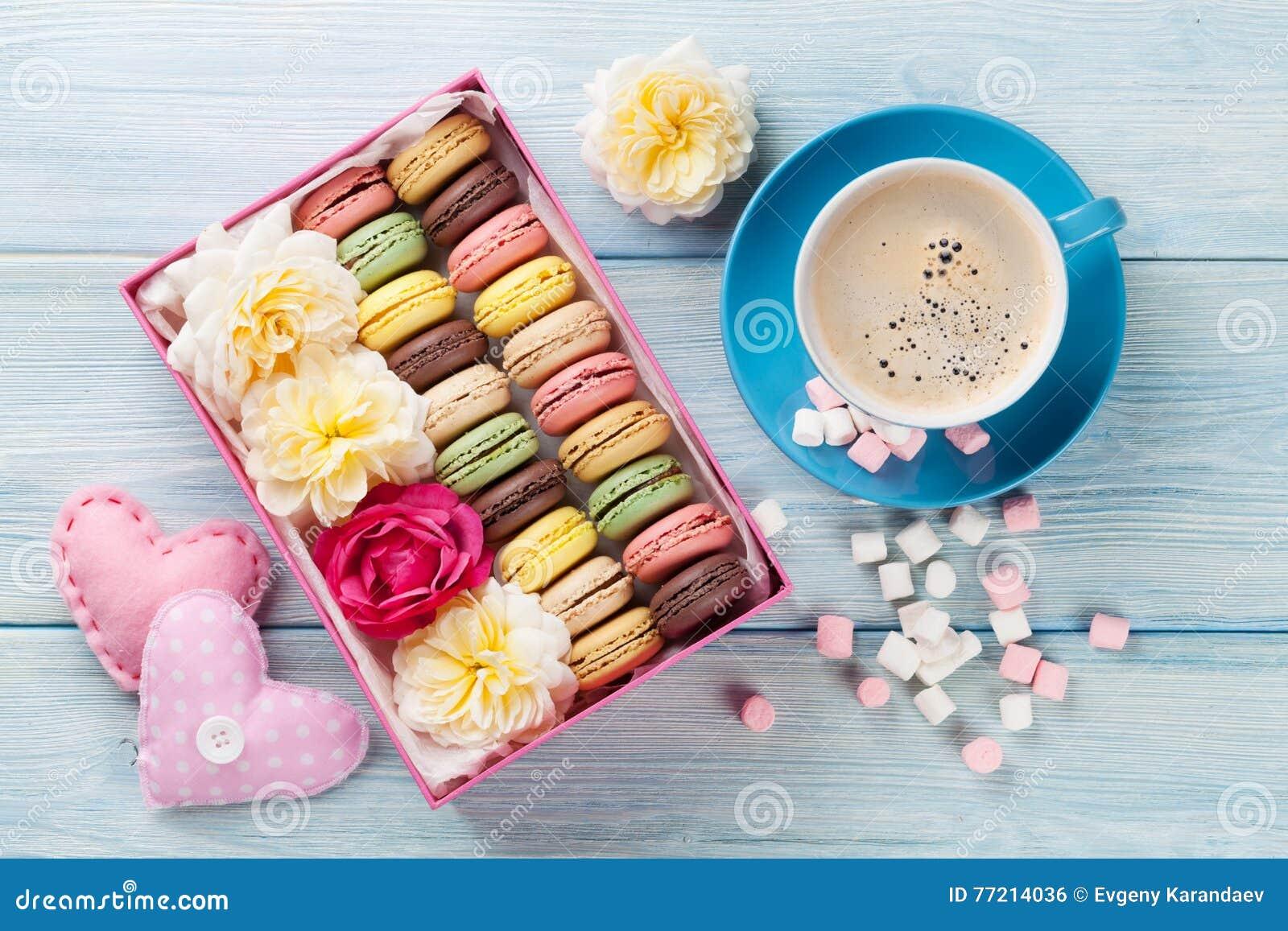 Macaroons And Coffee. Sweet Macarons In Gift Box Stock Photo ...