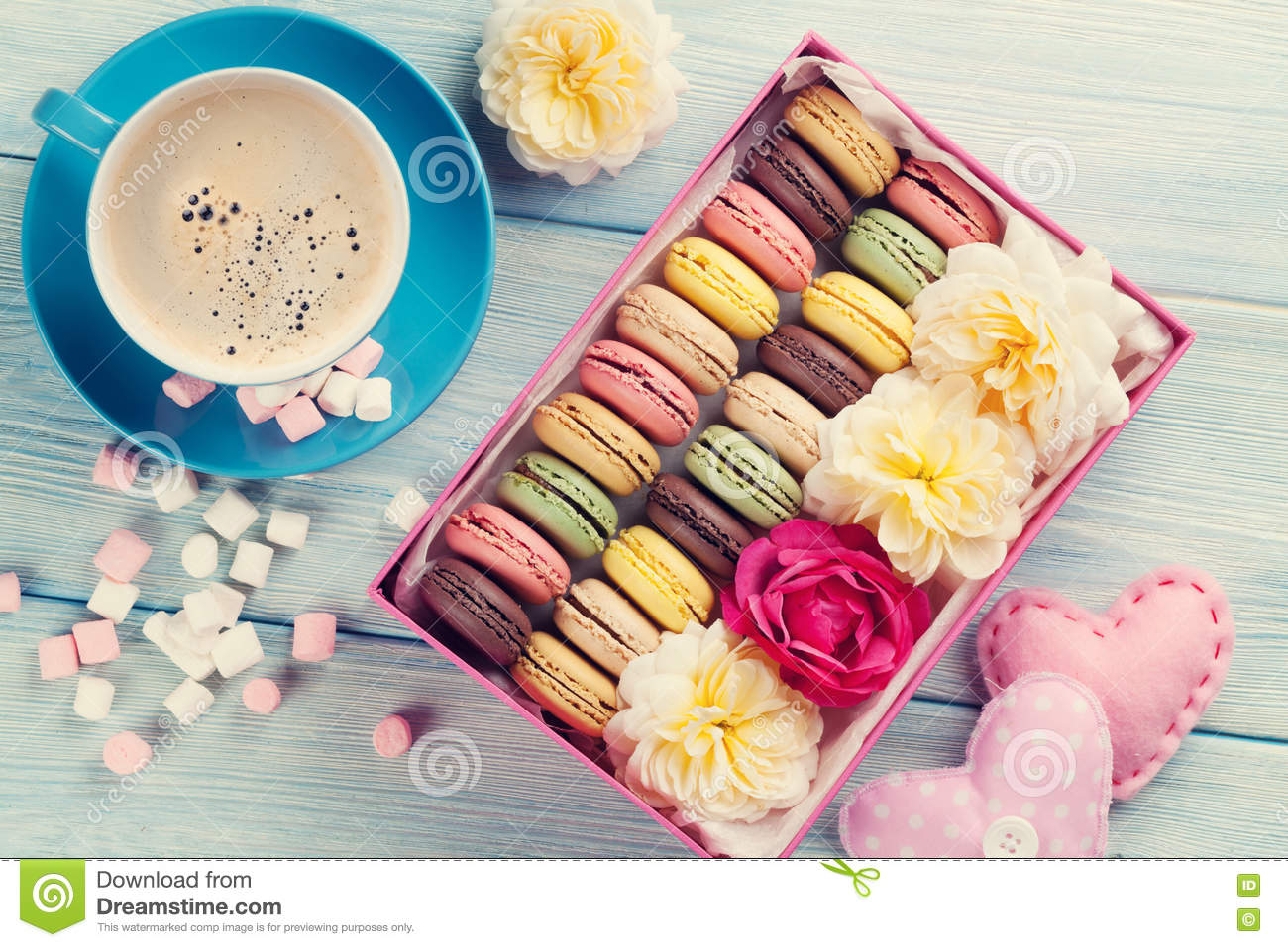 Macaroons And Coffee. Sweet Macarons In Gift Box Stock Image ...