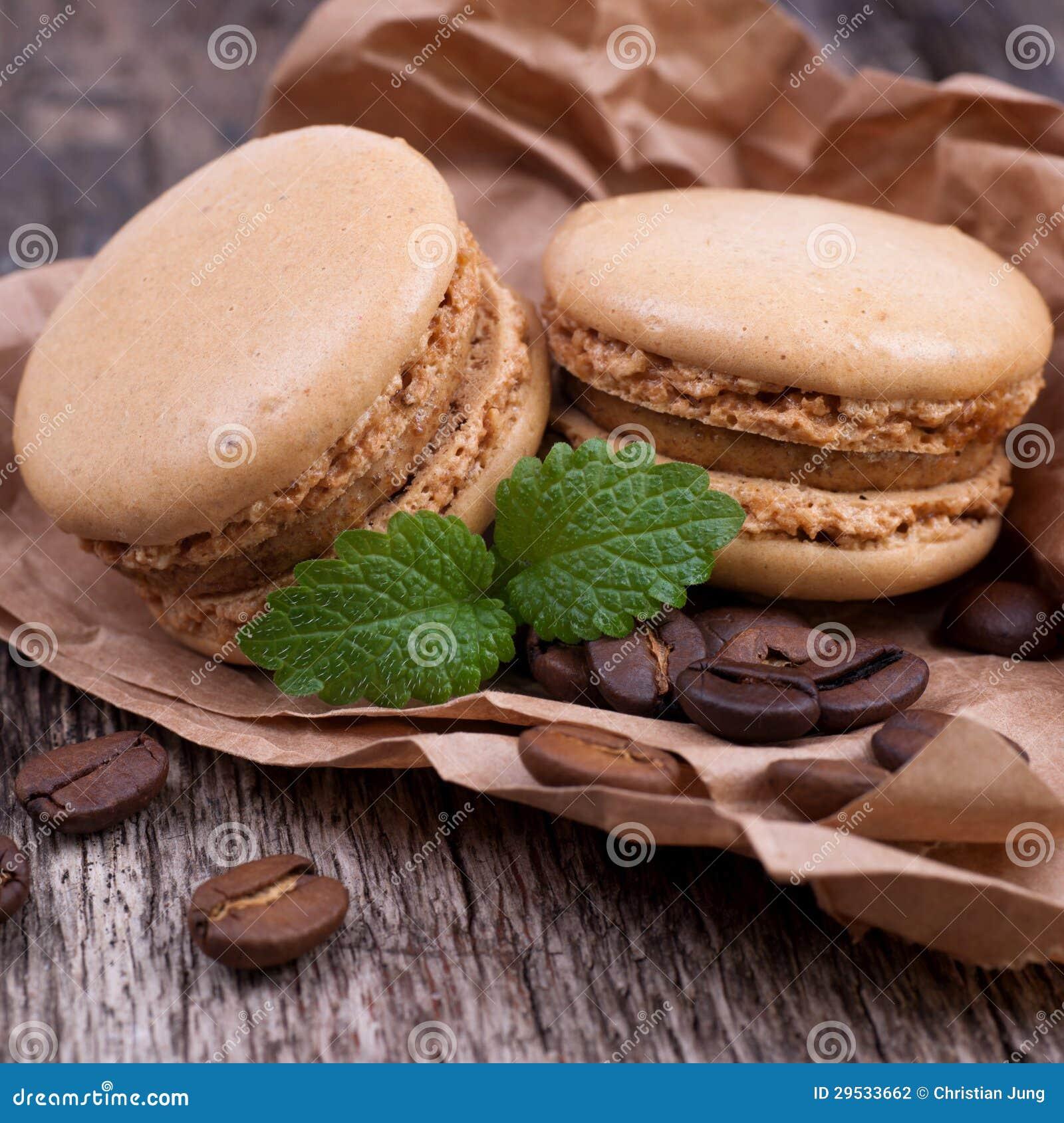 Macaroons com feijões de café
