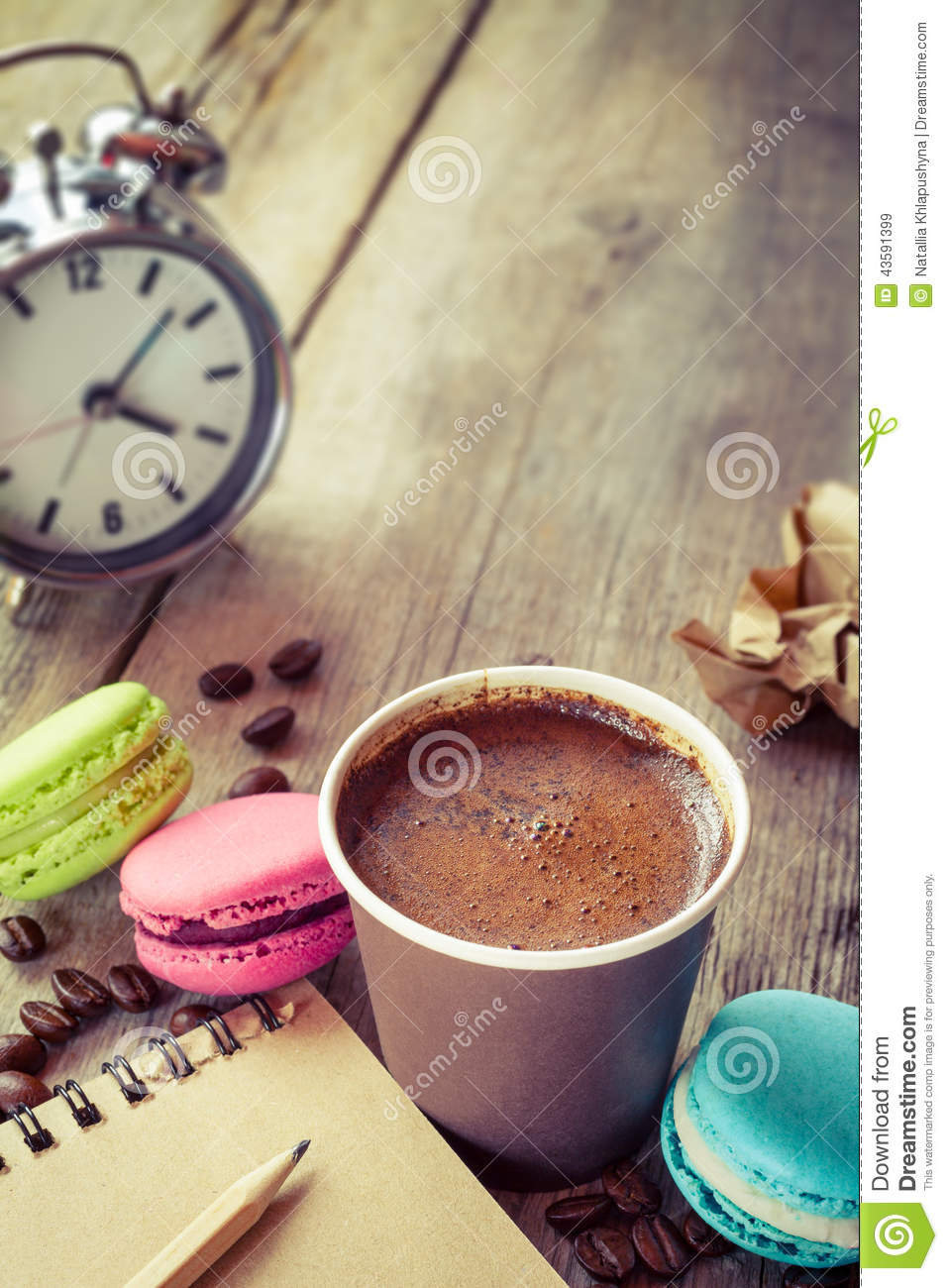 Macaroons, Espresso Coffee Cup, Sketch Book And Alarm ...