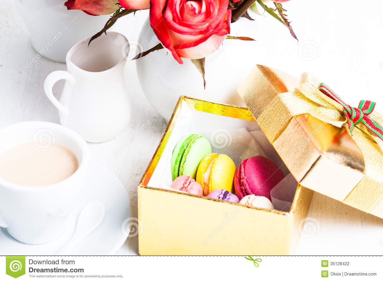 Macaroons In Gift Box Stock Photography - Image: 35128422
