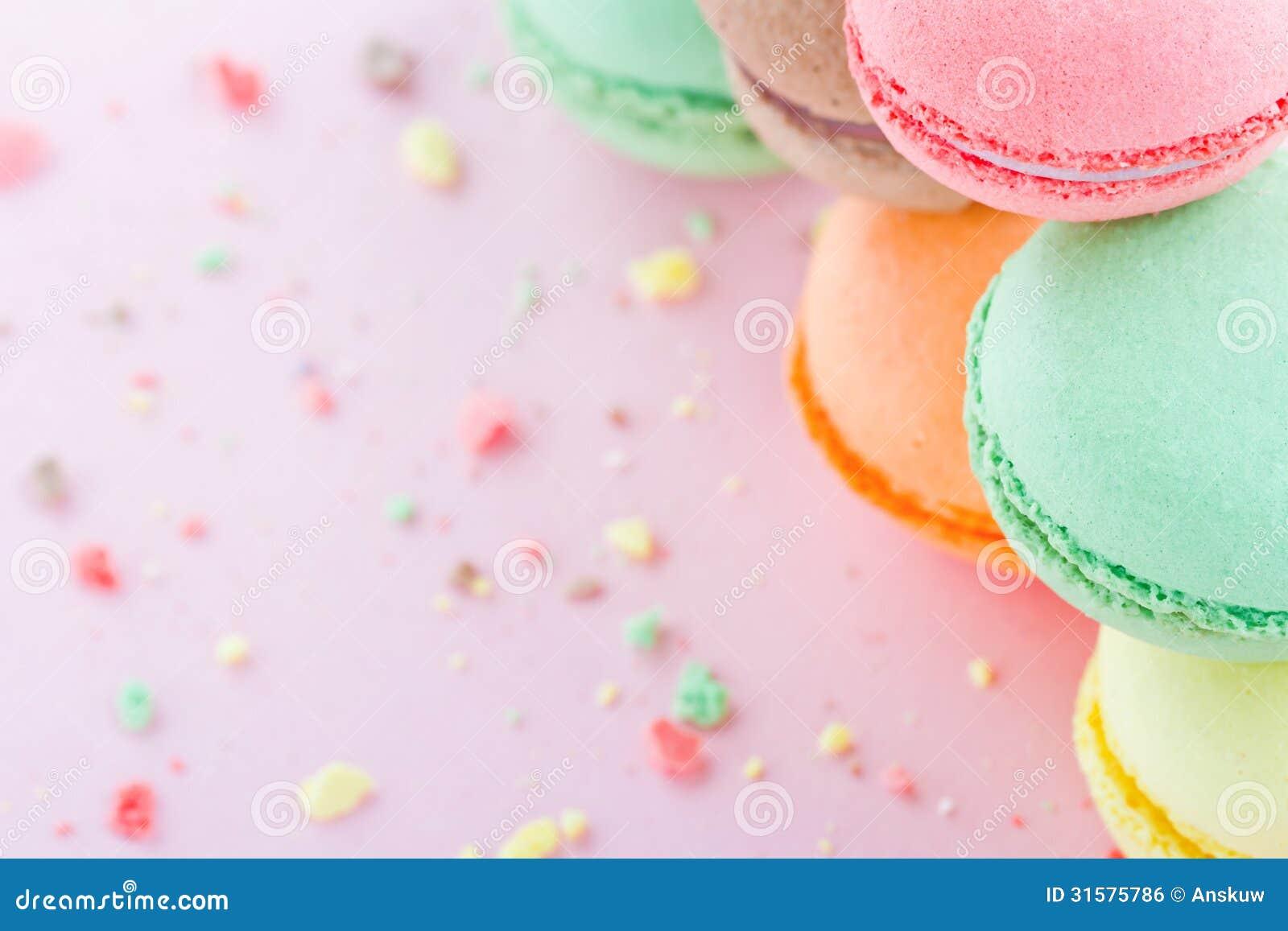 Macaroons on pastel pink background stock photo image - Pastel macaroons wallpaper ...