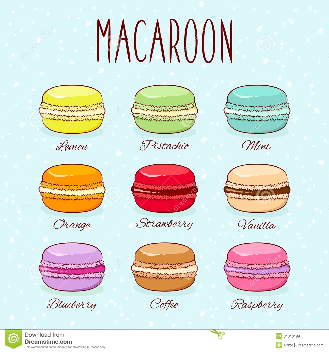 Set of different taste macaroons. Vector EPS8 illustration.